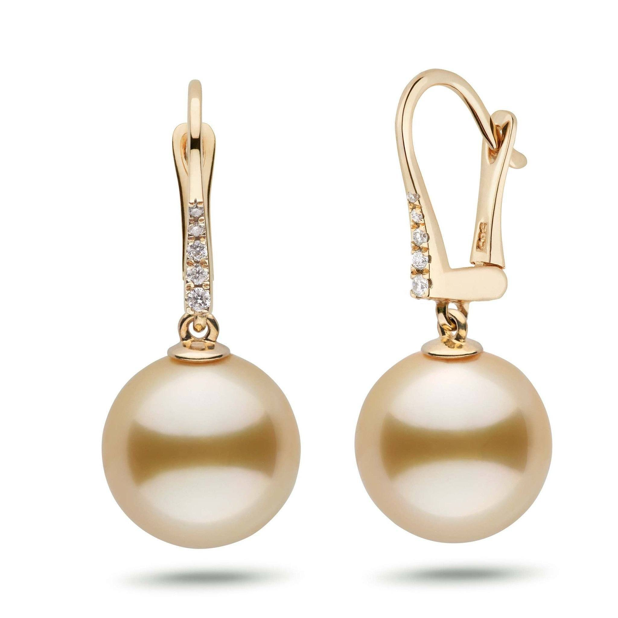 Allure Collection Golden South Sea 12.0-13.0 mm Pearl & Diamond Dangle Earrings