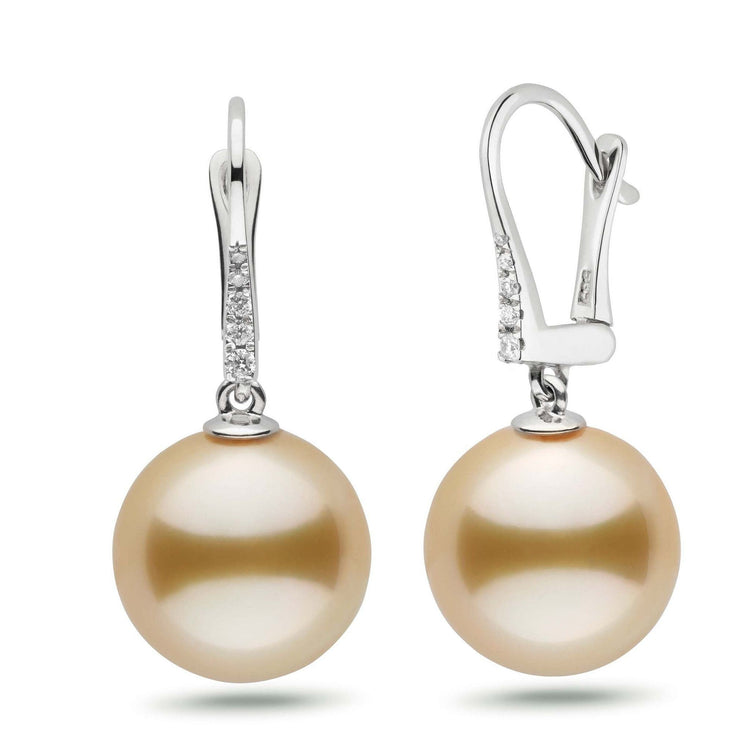 Allure Collection Golden South Sea 13.0-14.0 mm Pearl & Diamond Dangle Earrings