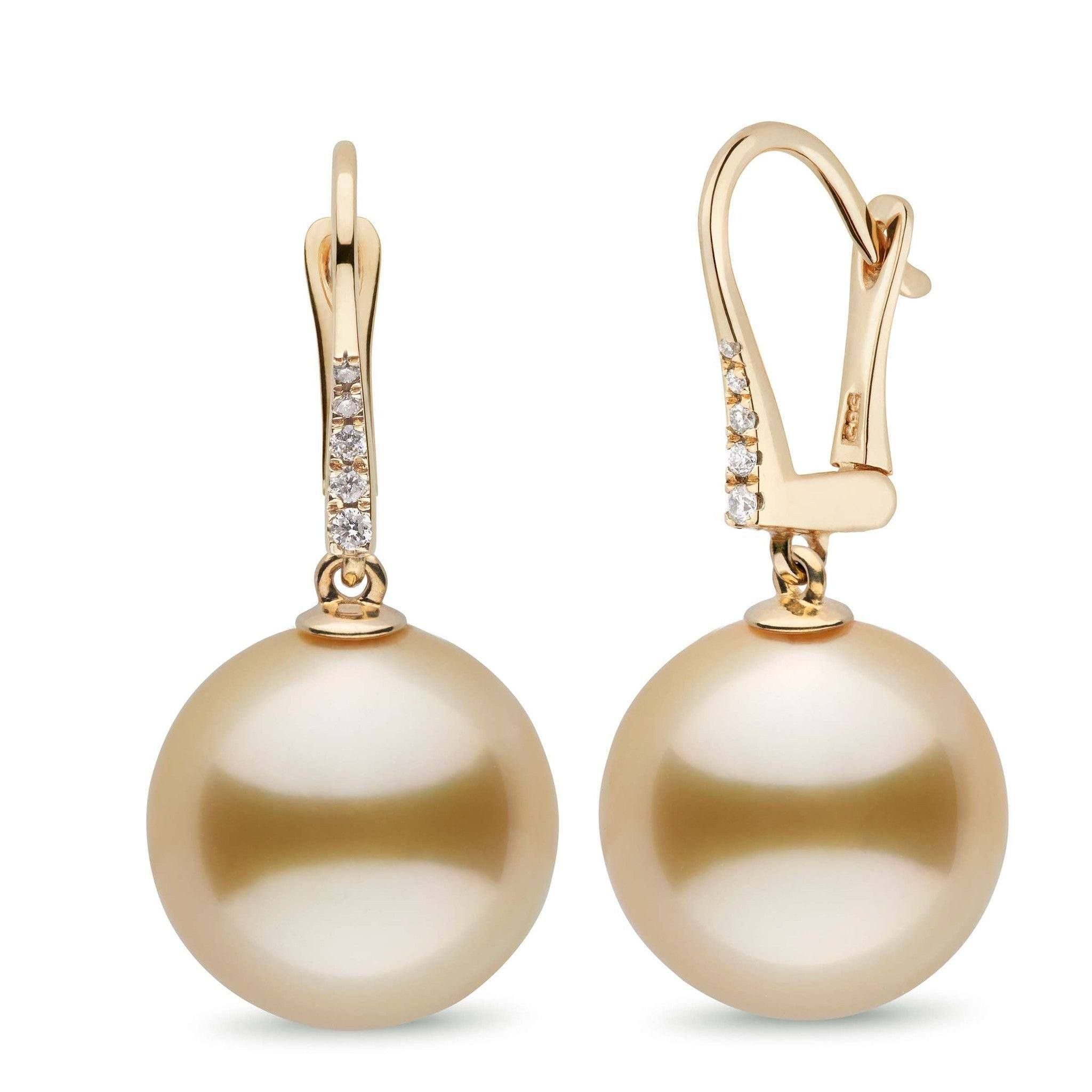 Allure Collection Golden South Sea 14.0-15.0 mm Pearl & Diamond Dangle Earrings
