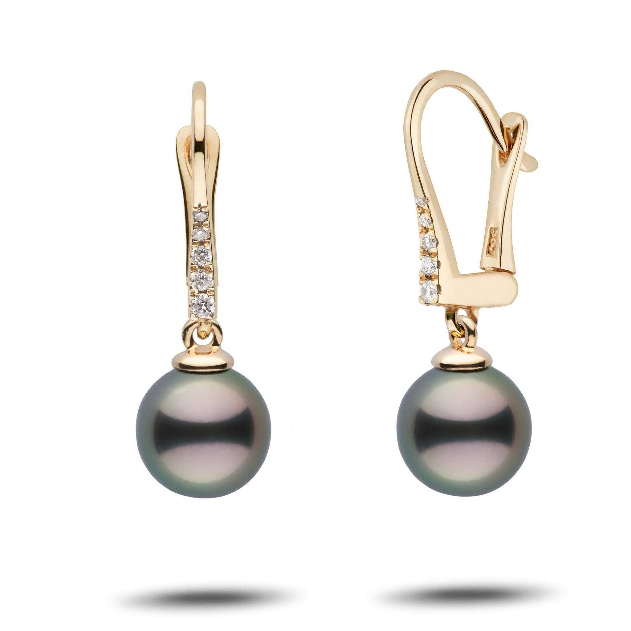 Allure Collection Tahitian 8.0-9.0 mm Pearl & Diamond Dangle Earrings