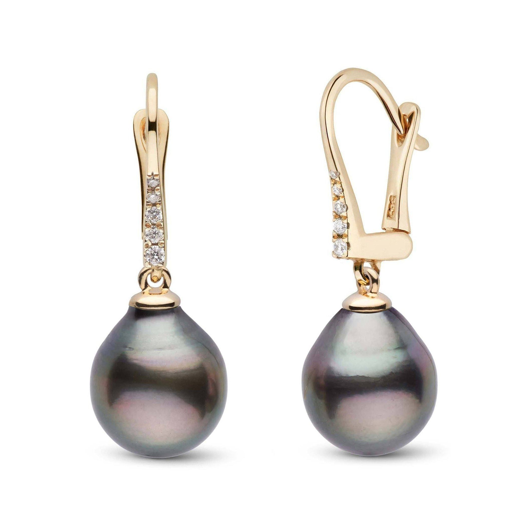 Allure Collection Tahitian Drop 11.0-12.0 mm Pearl & Diamond Dangle Earrings