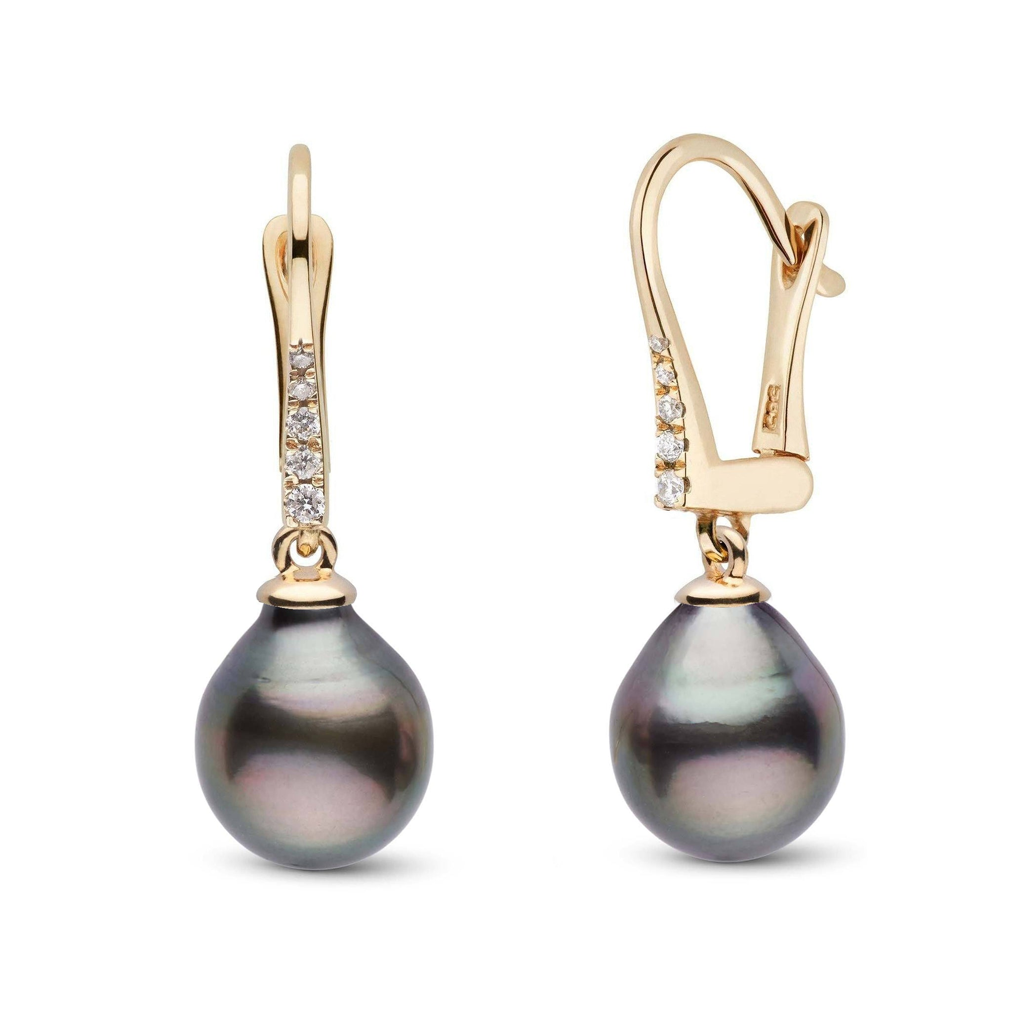 Allure Collection Tahitian Drop 8.0-9.0 mm Pearl & Diamond Dangle Earrings