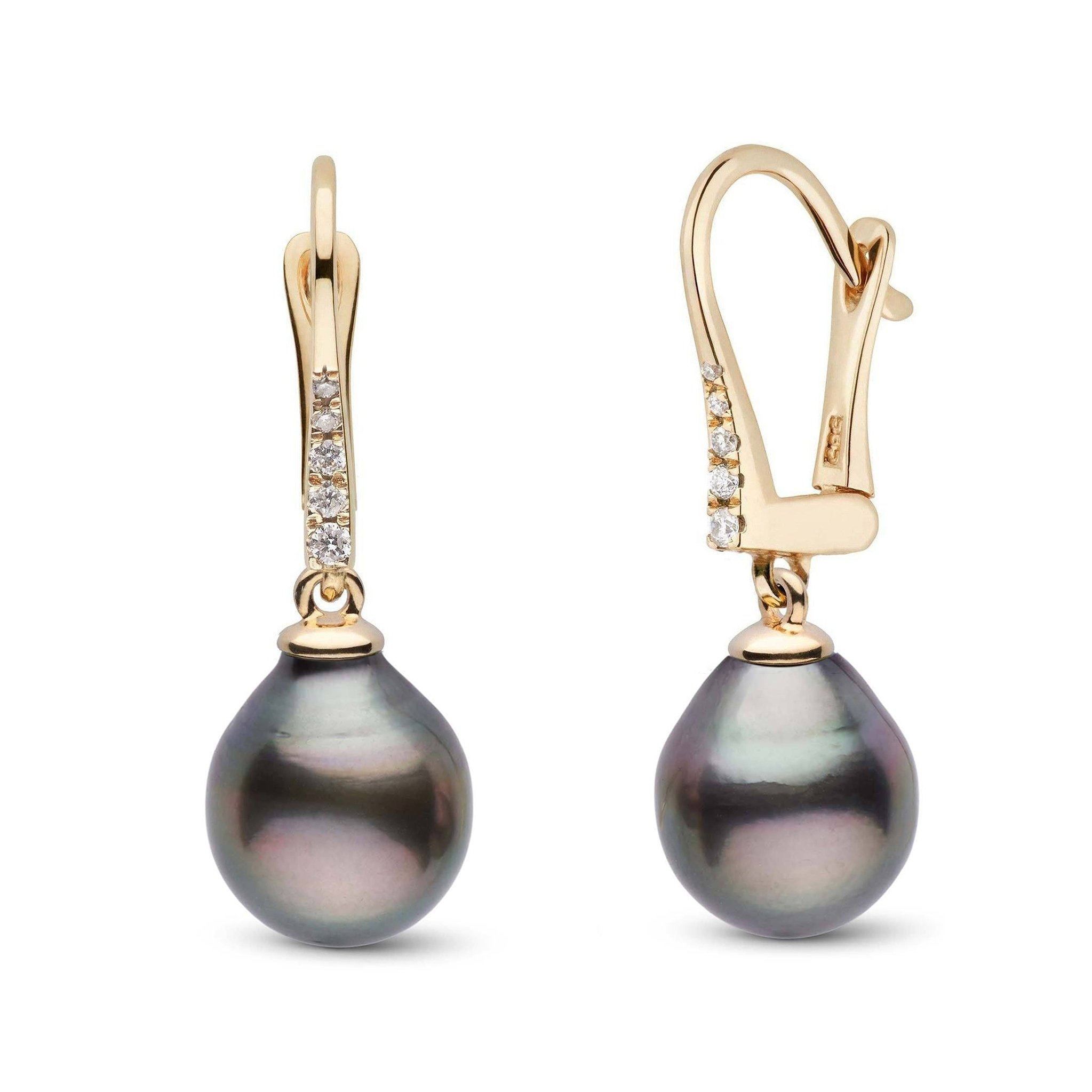 Allure Collection Tahitian Drop 9.0-10.0 mm Pearl & Diamond Dangle Earrings
