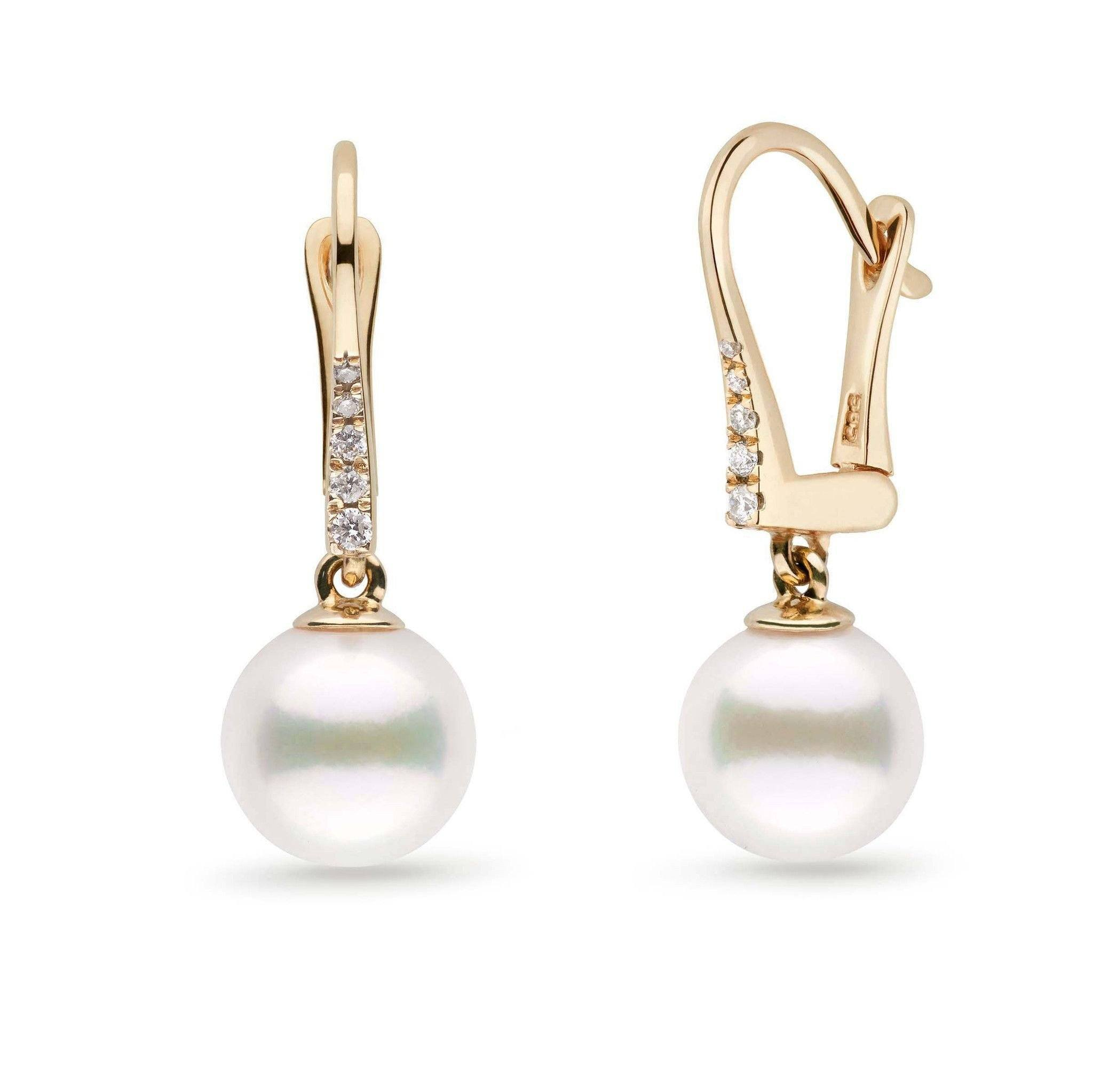 Allure Collection White Freshadama Freshwater 8.5-9.0 mm Pearl & Diamond Dangle Earrings