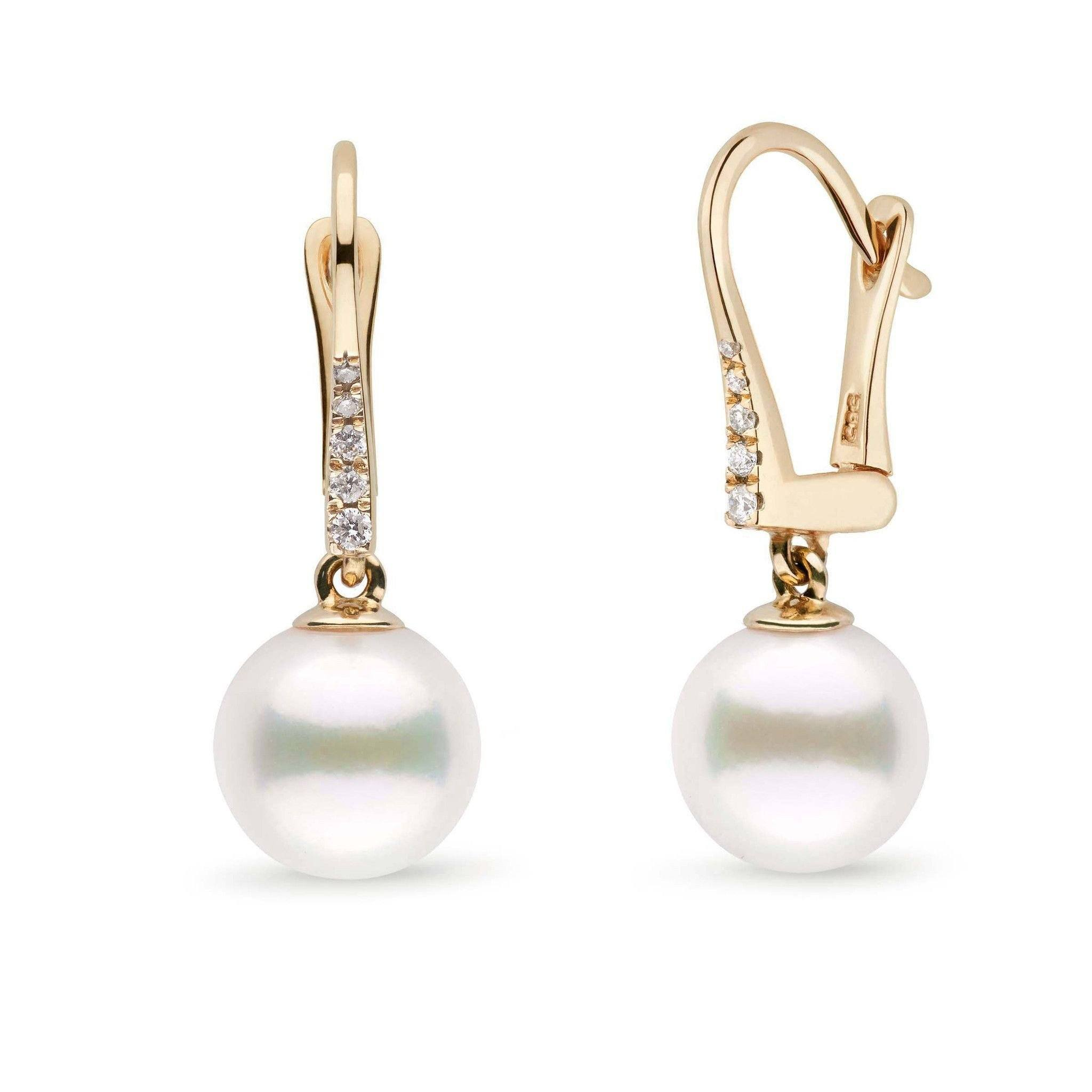 Allure Collection White Freshadama Freshwater 9.0-10.0 mm Pearl & Diamond Dangle Earrings