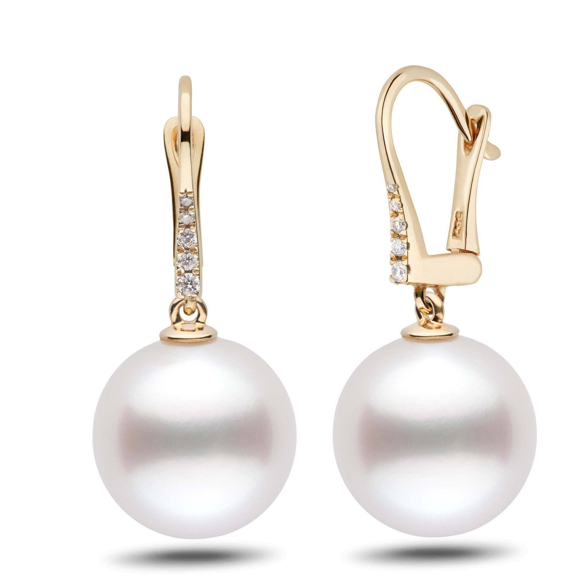 Allure Collection White South Sea 13.0-14.0 mm Pearl & Diamond Dangle Earrings