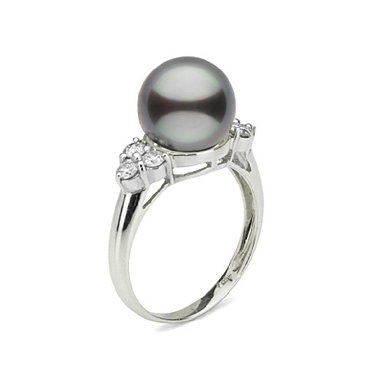 Always Collection 10.0-11.0 mm Tahitian Pearl and Diamond Ring