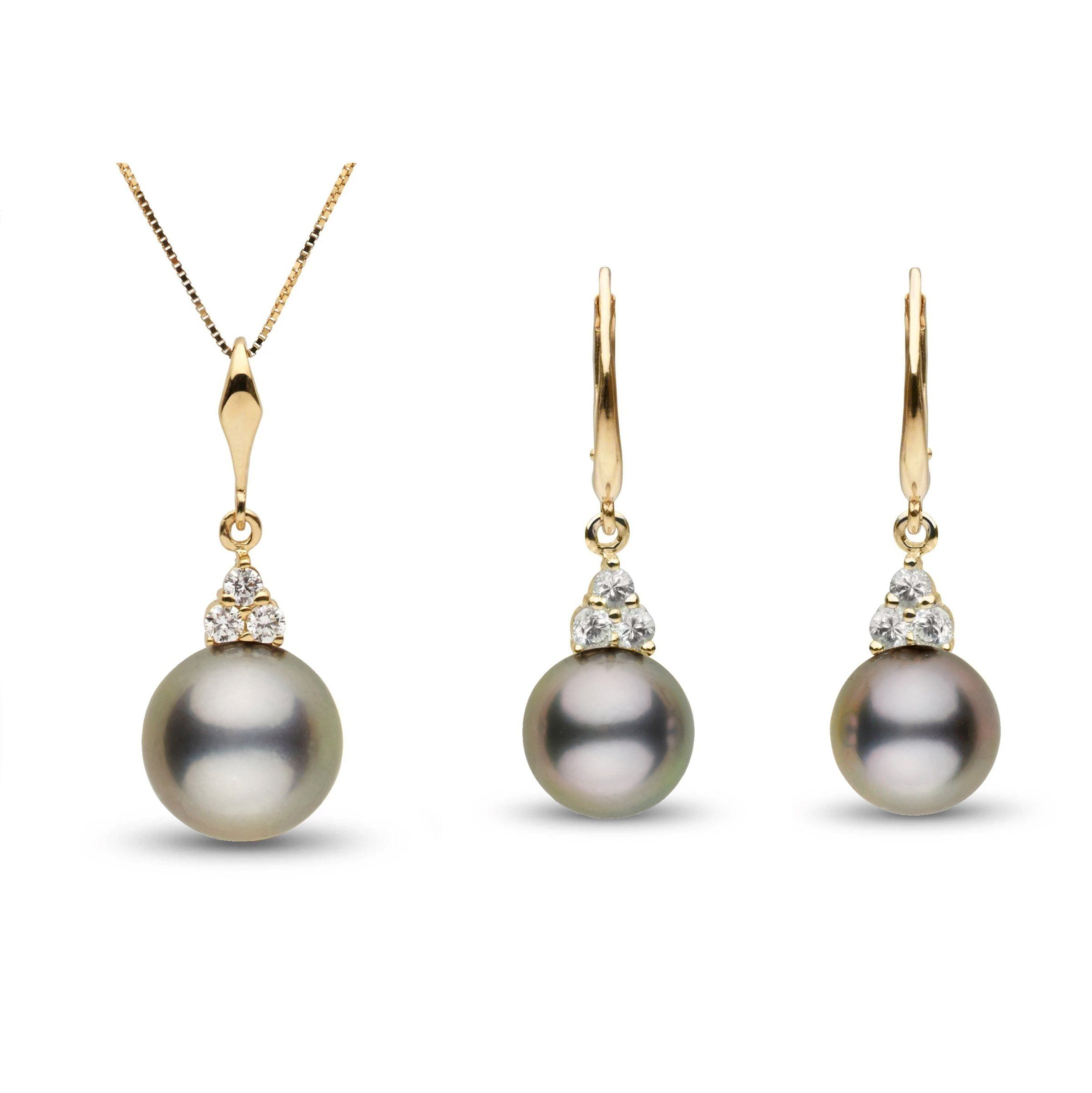 Always Collection 10.0-11.0 mm Tahitian Pearl and Diamonds Set