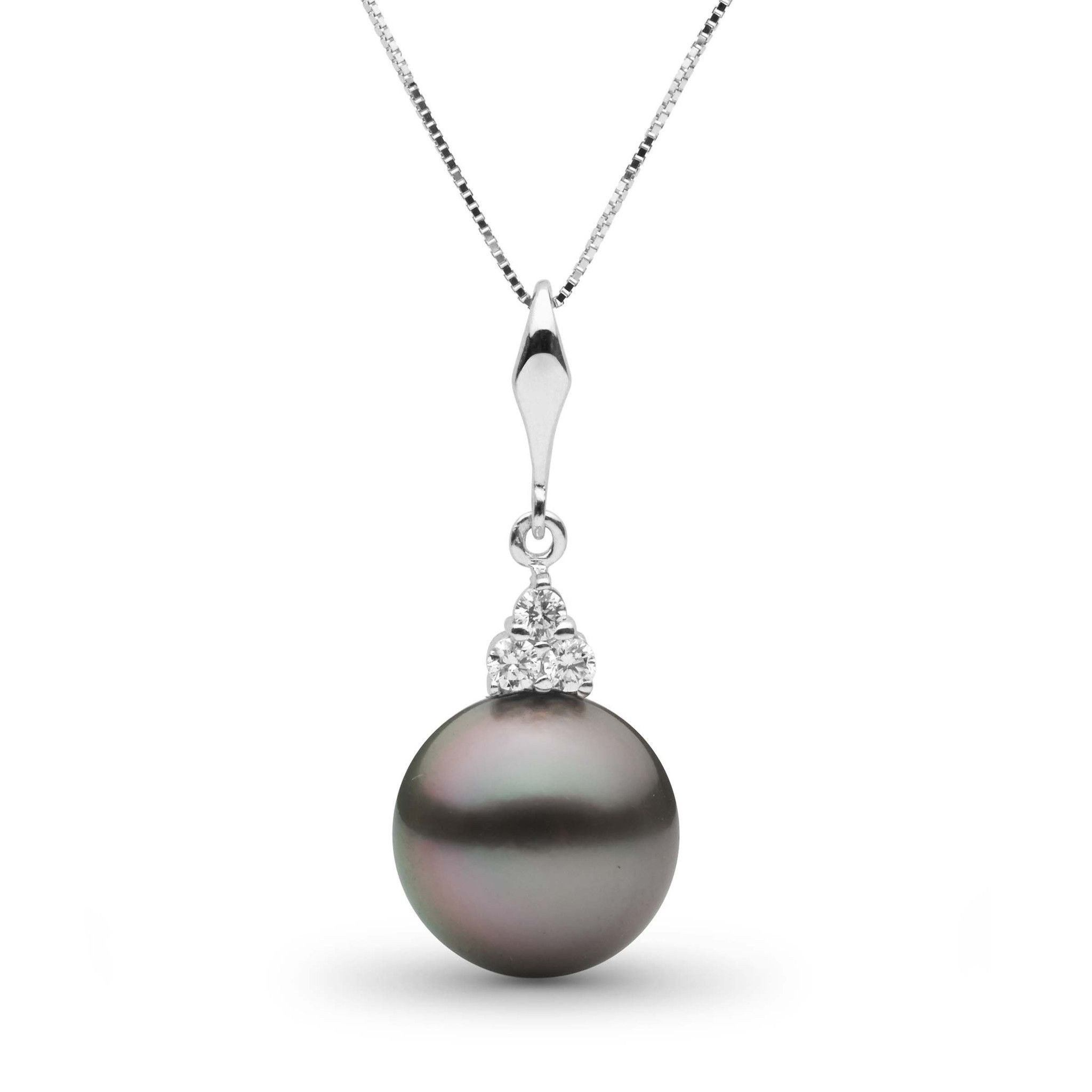 Always Collection 11.0-12.0 mm Tahitian Pearl and Diamond Pendant