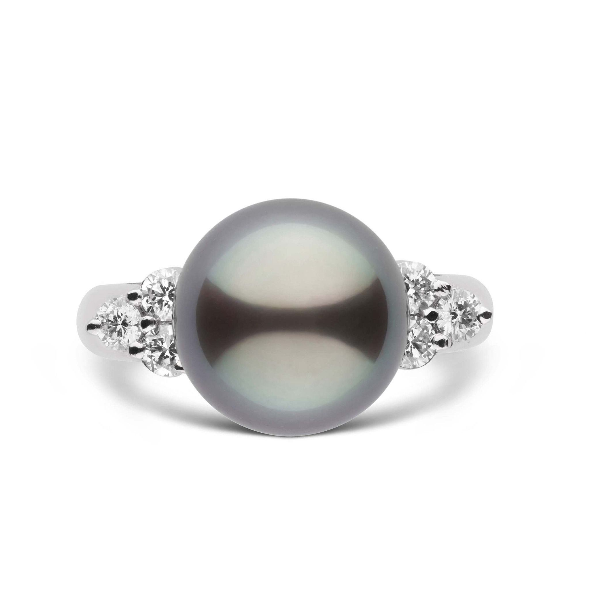 Always Collection 11.0-12.0 mm Tahitian Pearl and Diamond Ring 18K