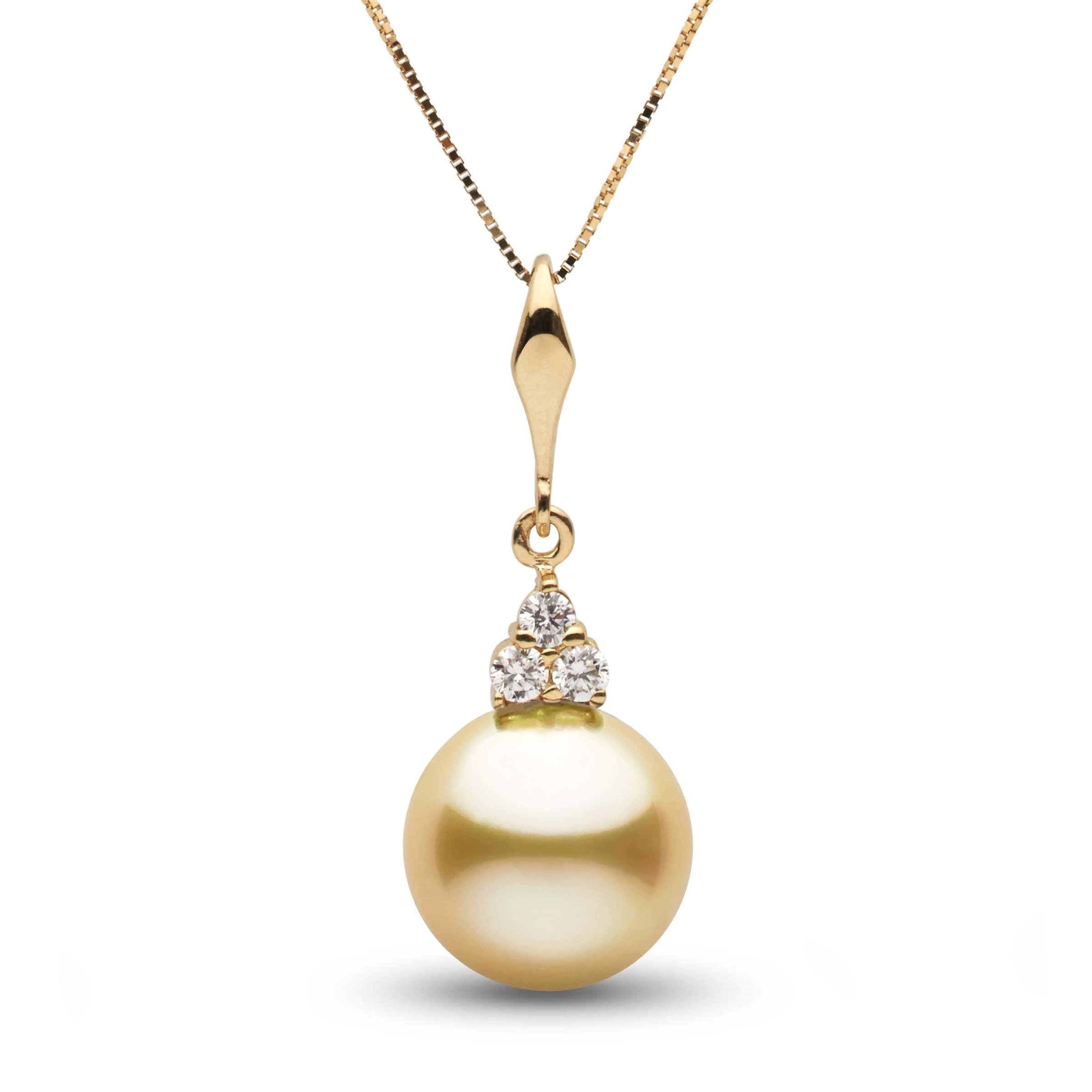 Always Collection Golden 10.0-11.0 mm South Sea Pearl and Diamond Pendant