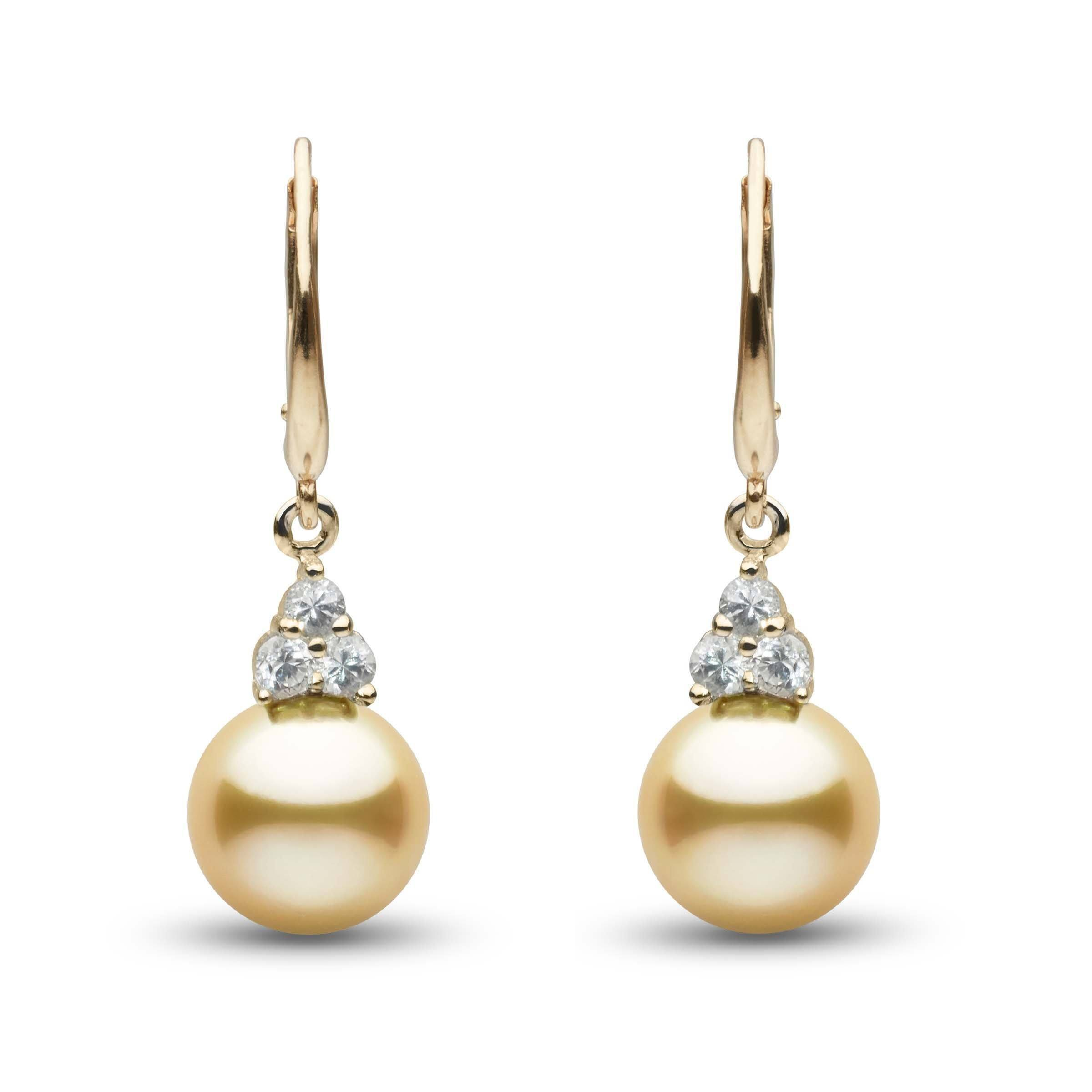 Always Collection Golden South Sea 9.0-10.0 mm Pearl and Diamond Earrings