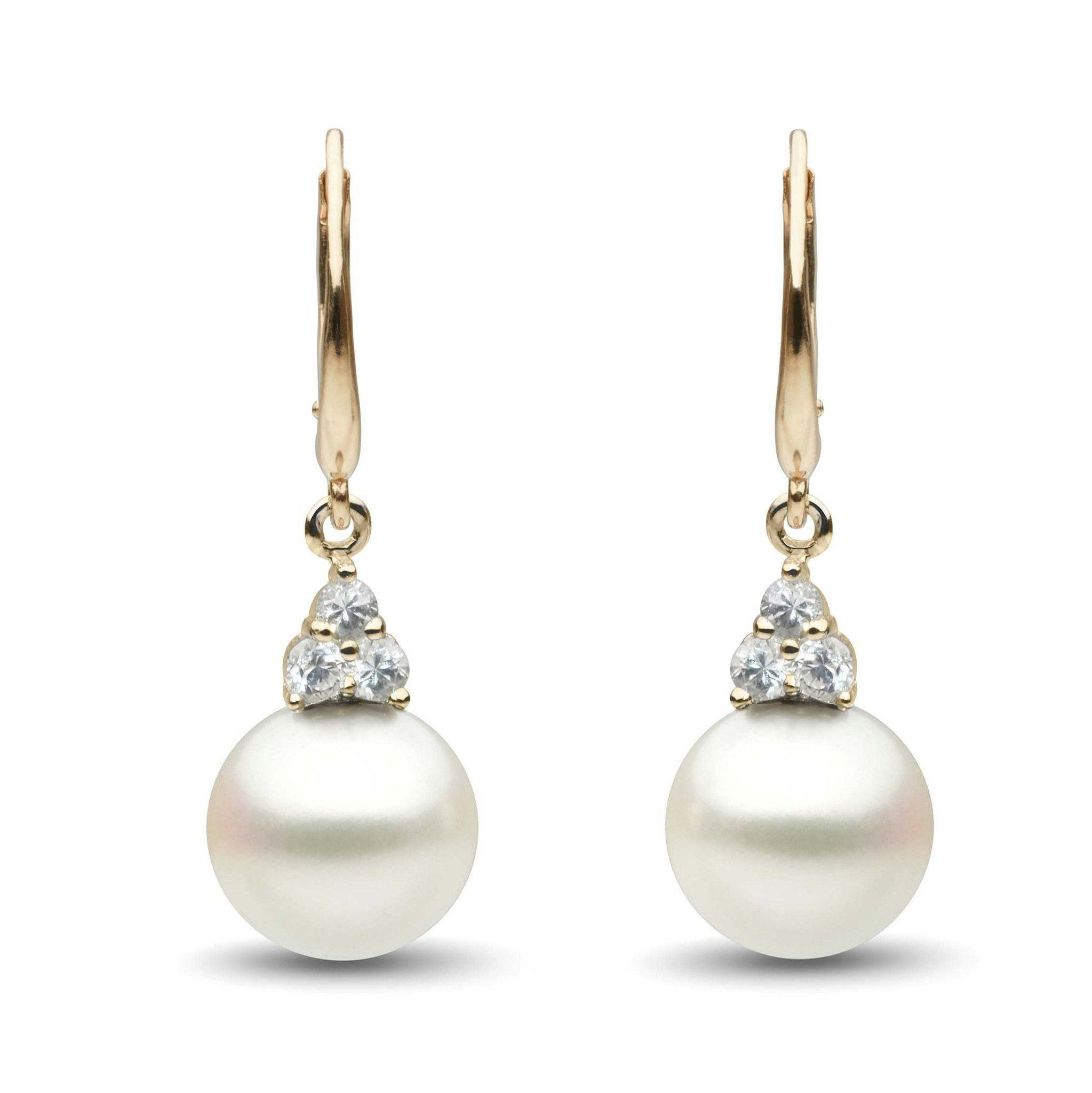 Always Collection White South Sea 10.0-11.0 mm Pearl and Diamond Earrings