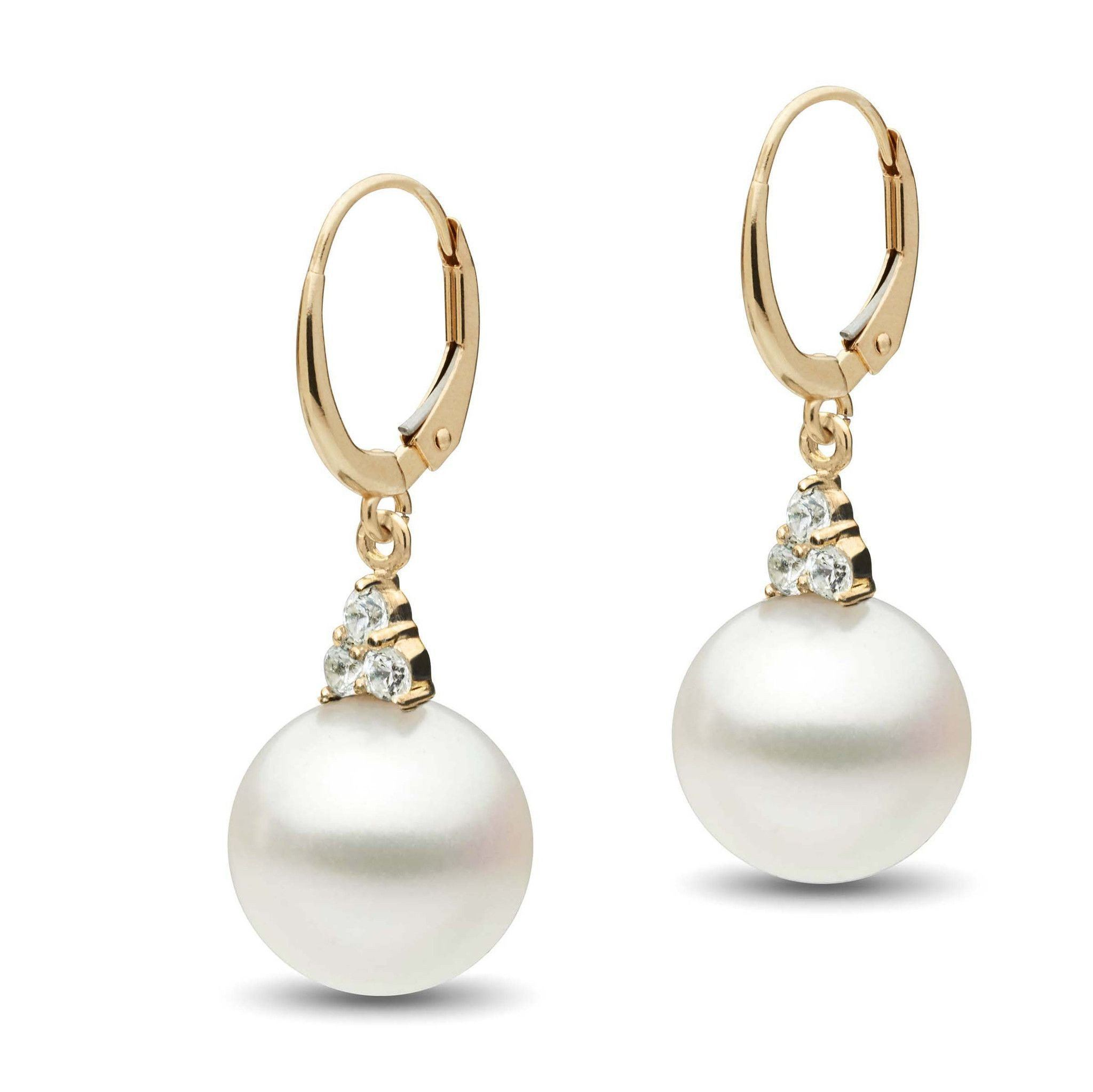 Always Collection White South Sea 11.0-12.0 mm Pearl and Diamond Earrings