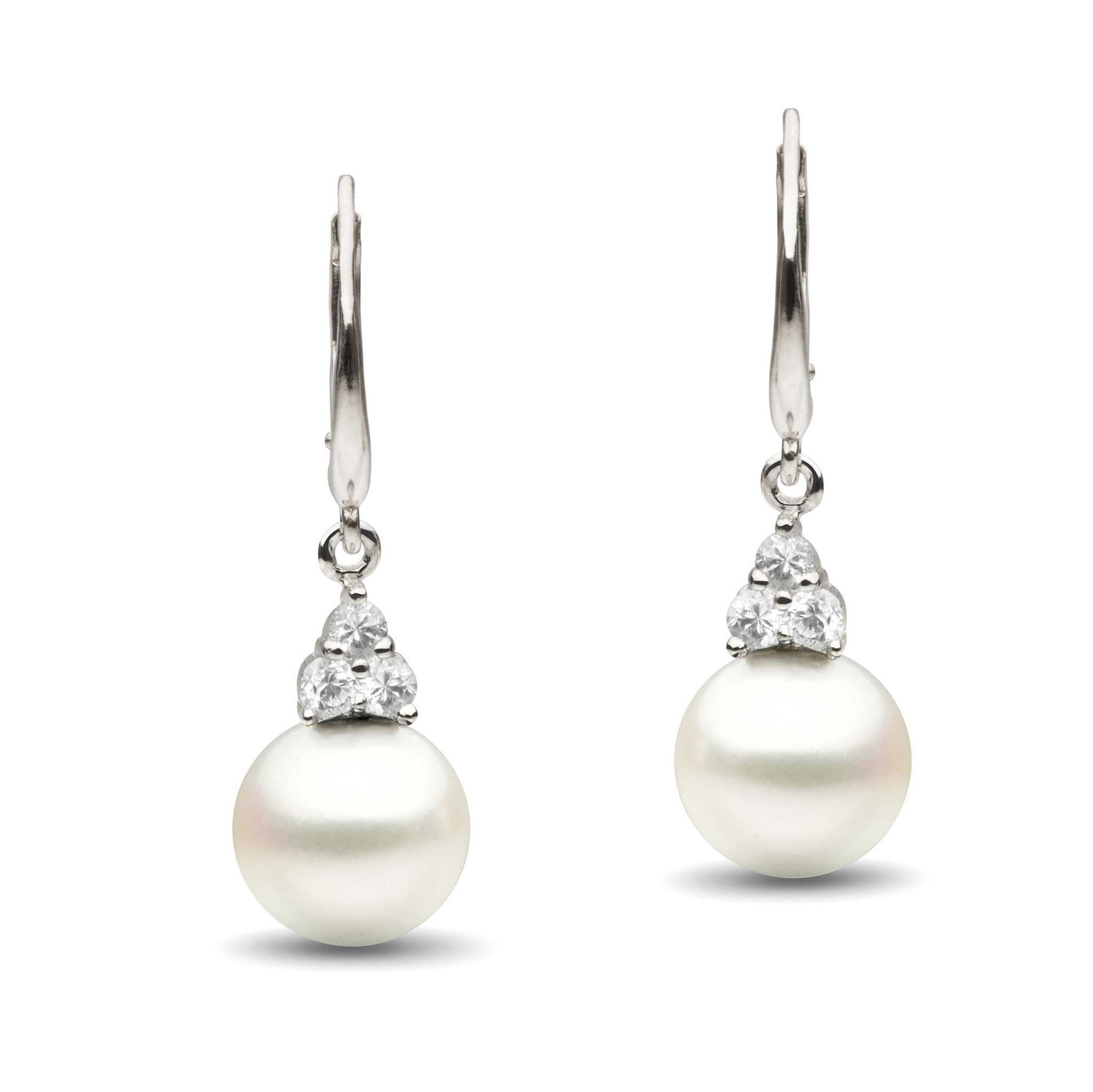 Always Collection White South Sea 9.0-10.0 mm Pearl and Diamond Earrings