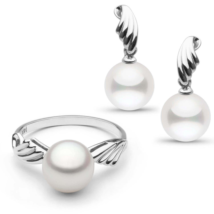 Ascend Collection Freshwater Pearl Ring and Earrings in Sterling Silver