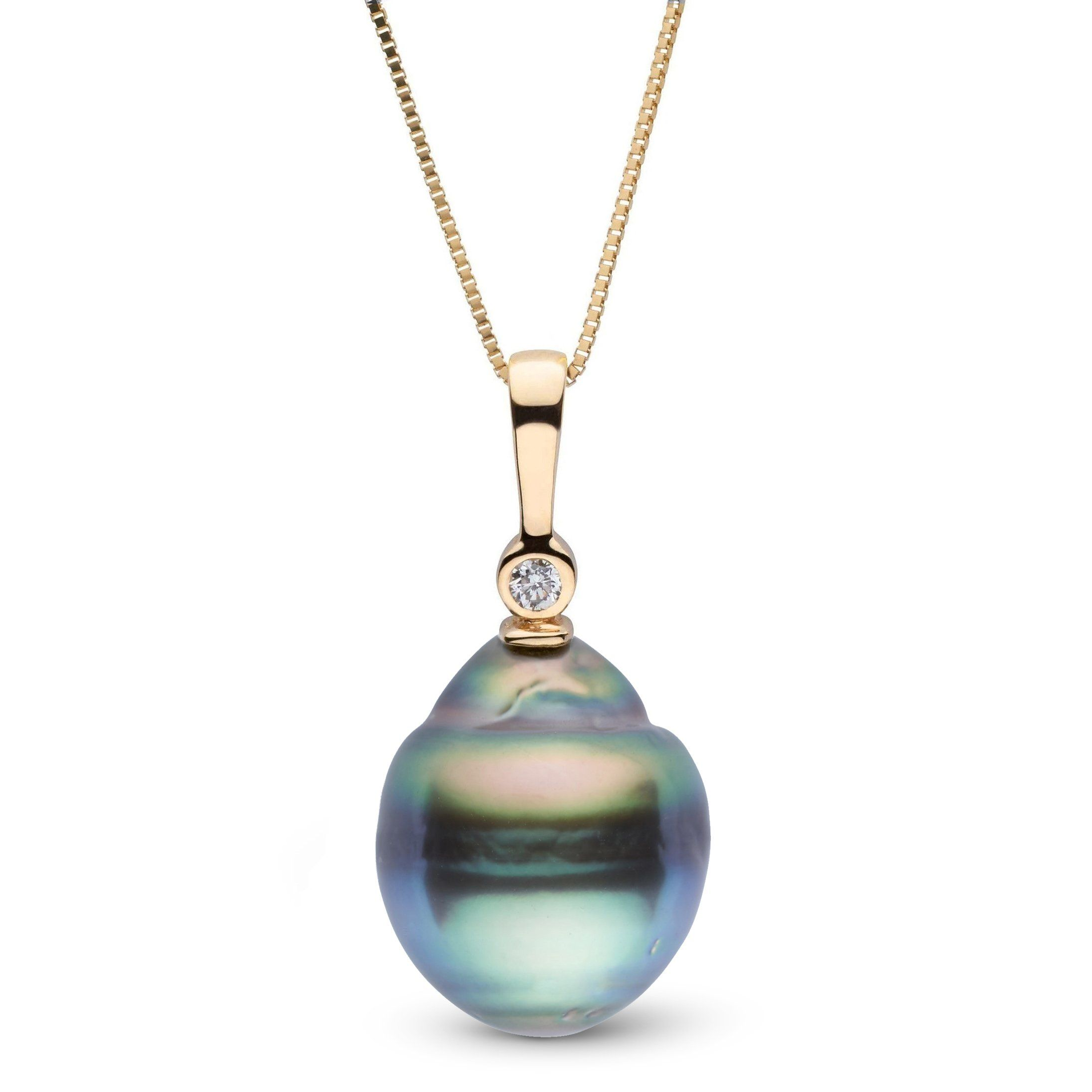 Aspire Collection 11.0-12.0 mm Baroque Tahitian Pearl & Diamond Pendant