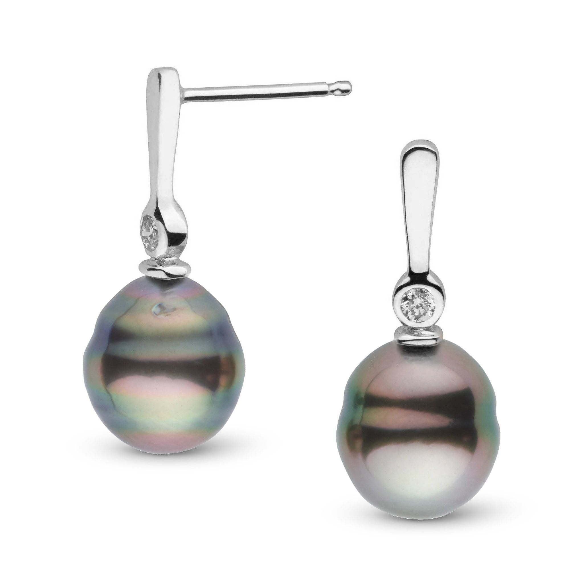 Aspire Collection 8.0-9.0 mm Baroque Tahitian Pearl & Diamond Earrings