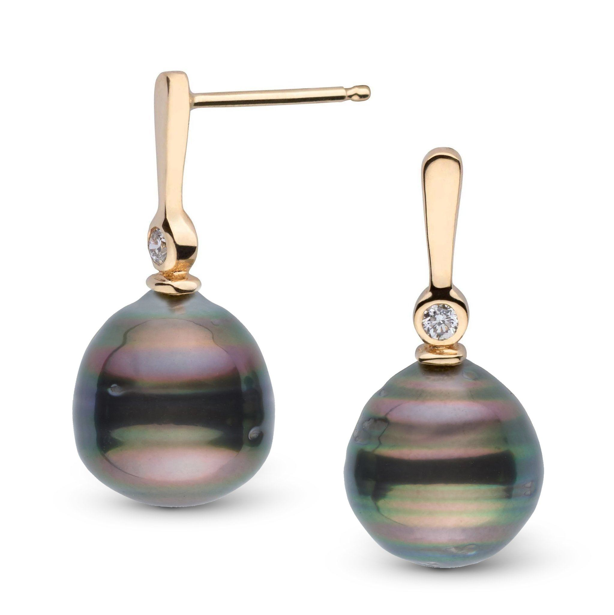 Aspire Collection 9.0-10.0 mm Baroque Tahitian Pearl & Diamond Earrings
