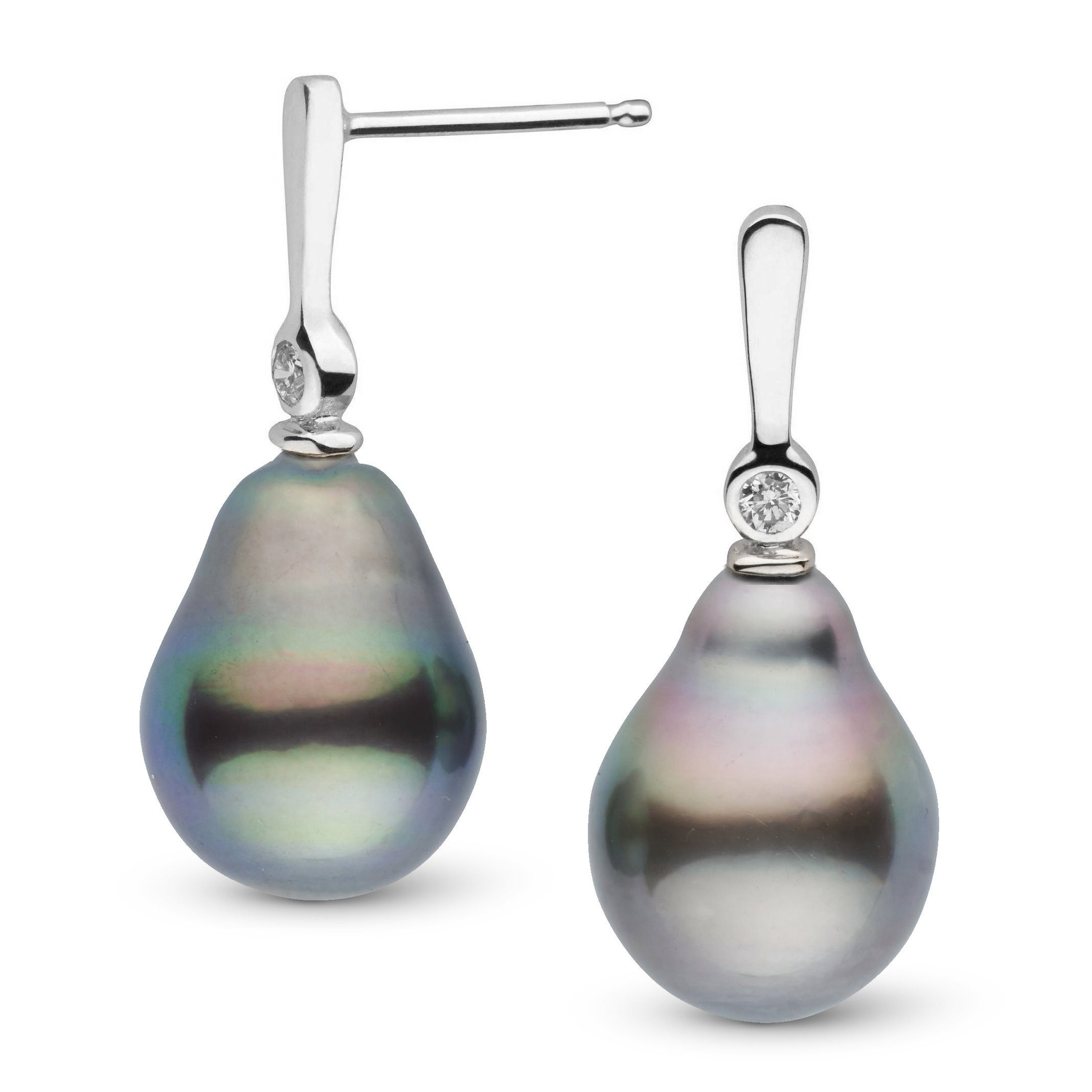 Aspire Collection 11.0-12.0 mm Drop Tahitian Pearl & Diamond Earrings