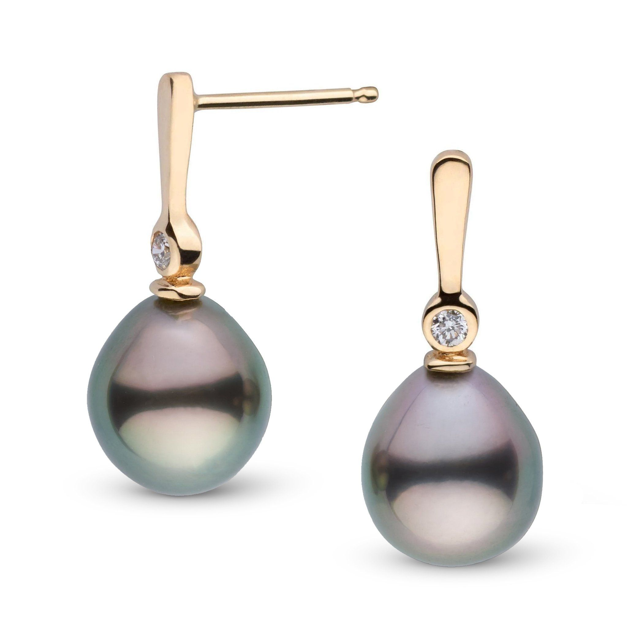 Aspire Collection 8.0-9.0 mm Drop Tahitian Pearl & Diamond Earrings