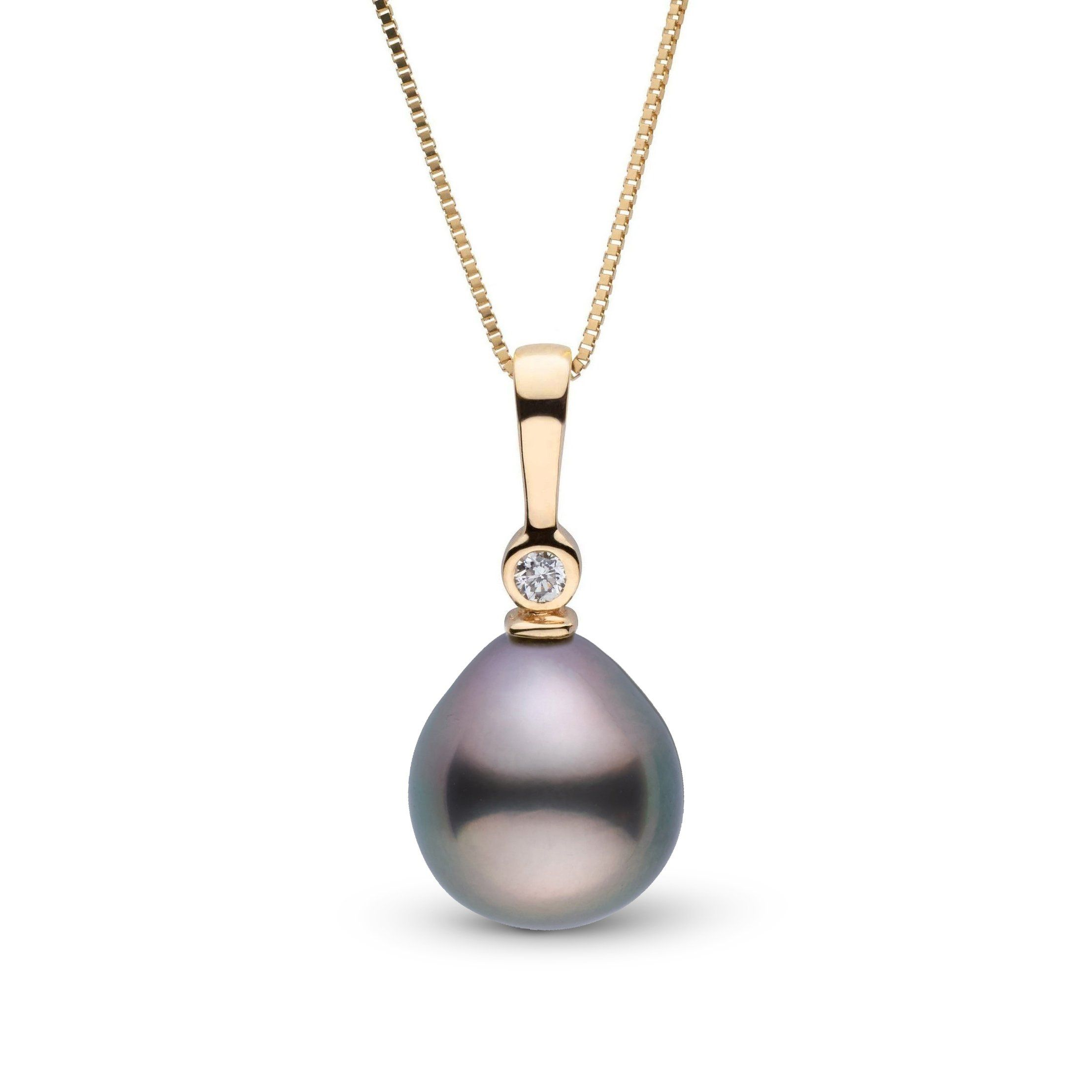 Aspire Collection 8.0-9.0 mm Drop Tahitian Pearl & Diamond Pendant