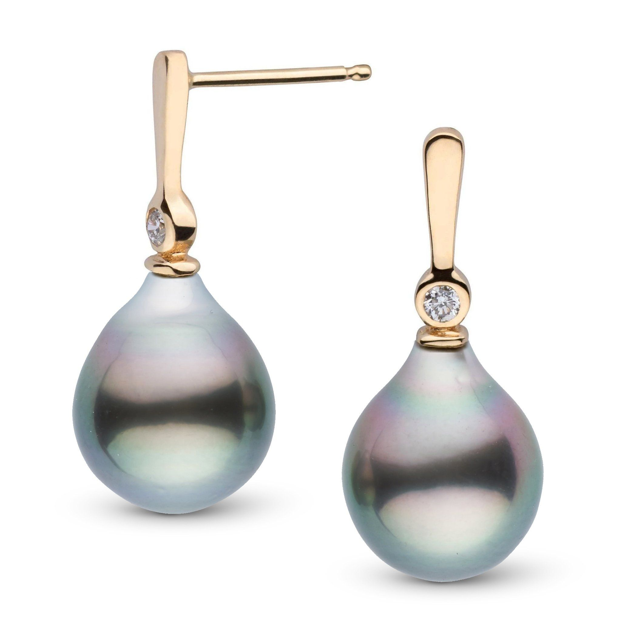 Aspire Collection 9.0-10.0 mm Drop Tahitian Pearl & Diamond Earrings