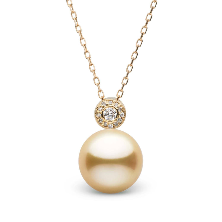 Aura Collection Golden 10.0-11.0 mm South Sea Pearl and Diamond Pendant