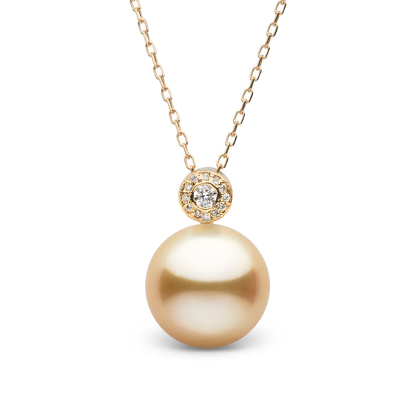 Aura Collection Golden 11.0-12.0 mm South Sea Pearl and Diamond Pendant