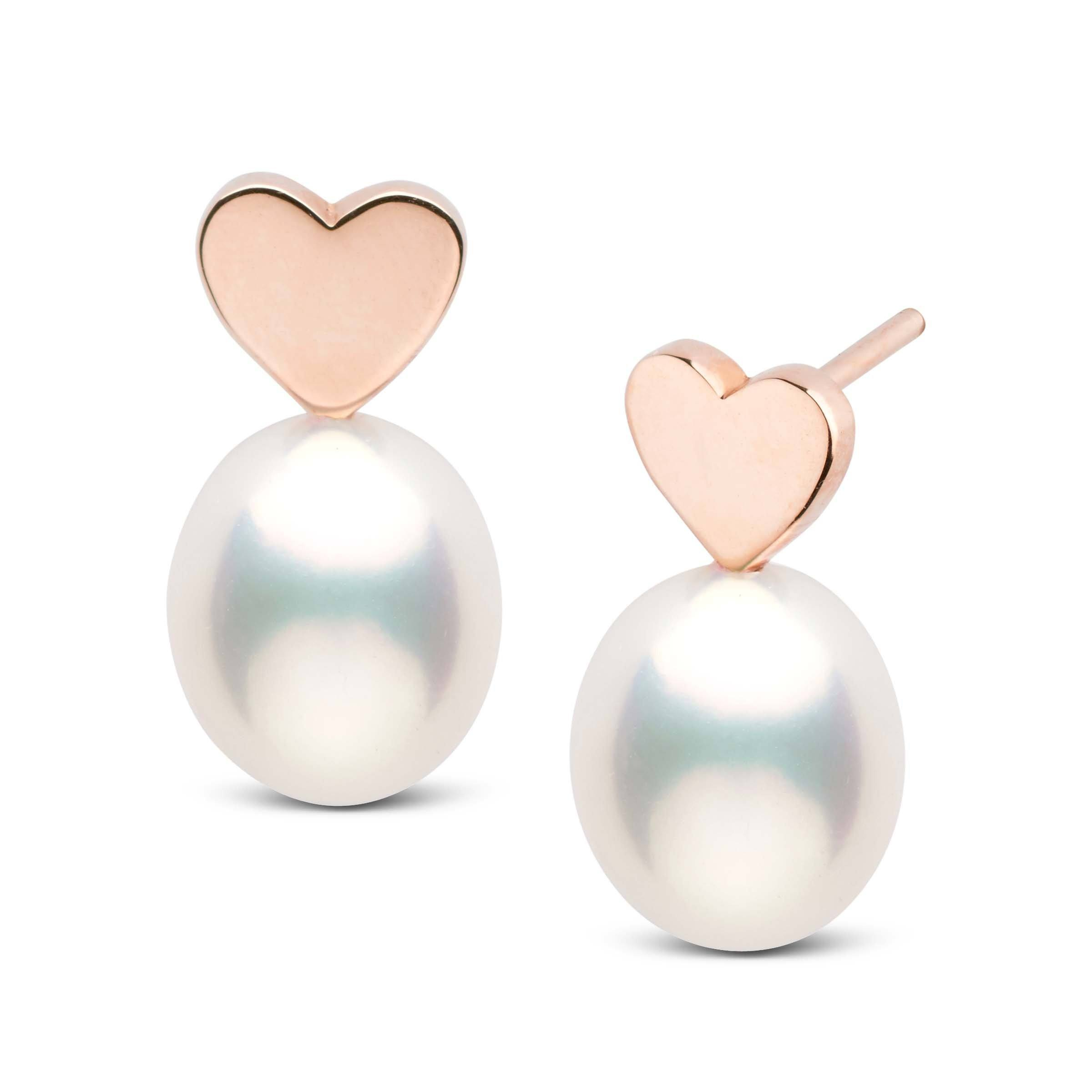 Baby Heart Collection Metallic White Freshwater Drop 7.0-8.0 mm Pearl Earrings