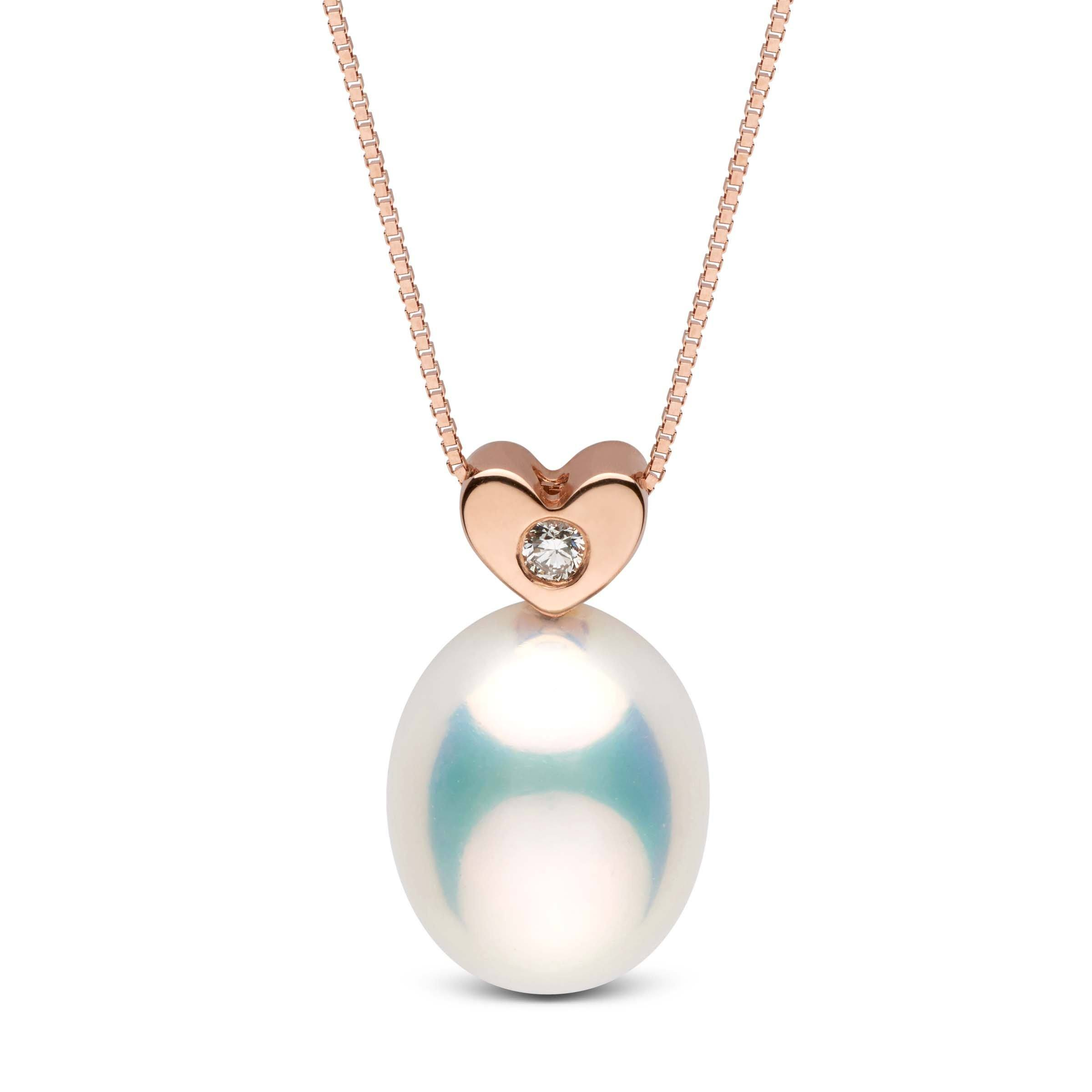 Baby Heart Collection Metallic White Freshwater Drop 9.0-10.0 mm Pearl and Diamond Pendant