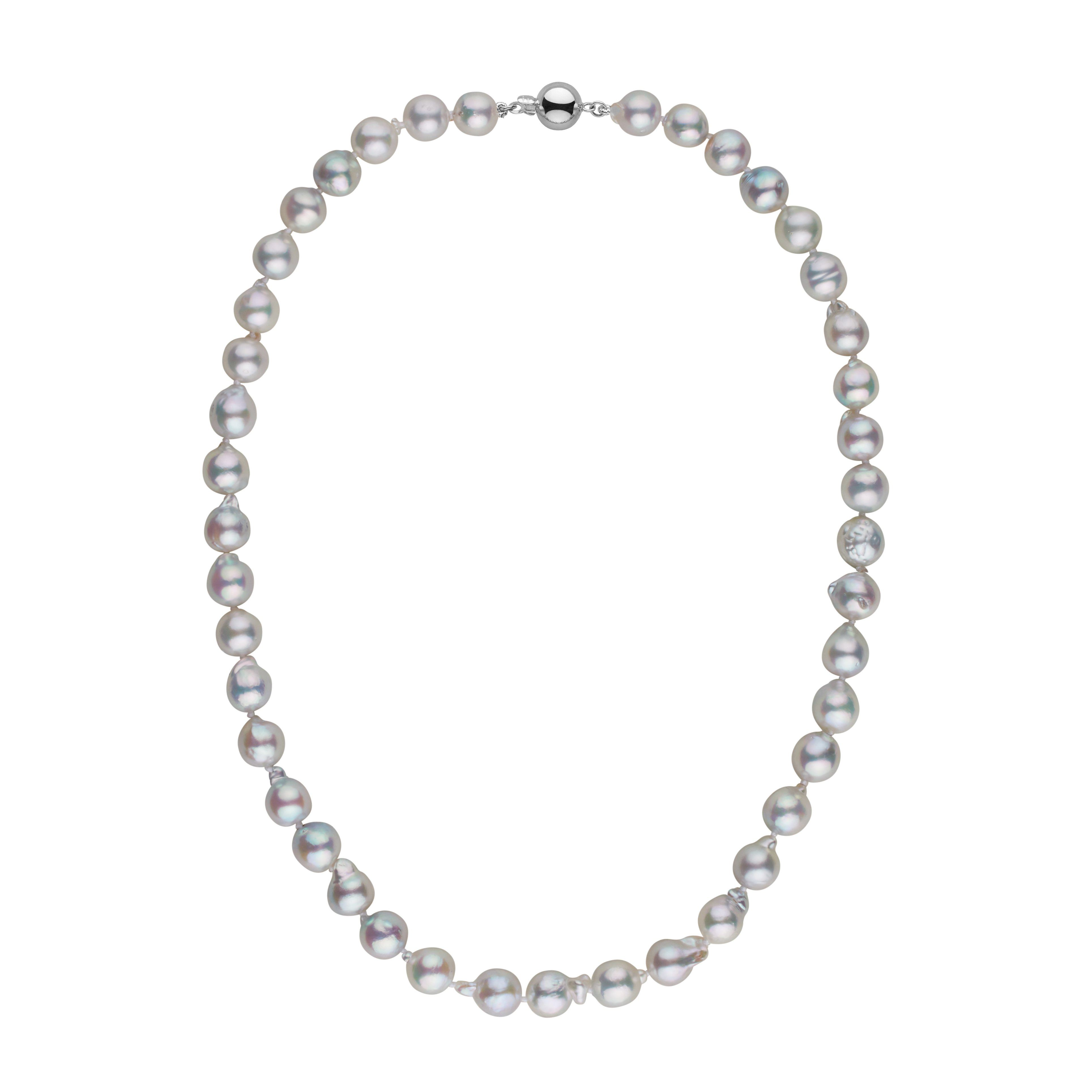 8.0-8.5 mm 18 Inch Silver-Blue Akoya Baroque Pearl Necklace
