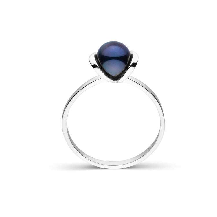Bonita Collection Black Akoya Pearl Ring in Sterling Silver