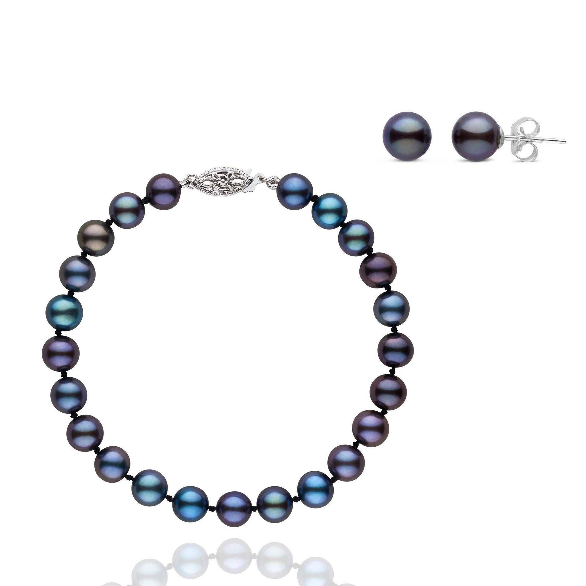 6.5-7.0 mm AAA Black Freshwater Pearls 2 Piece Bracelet and Stud Earring Set