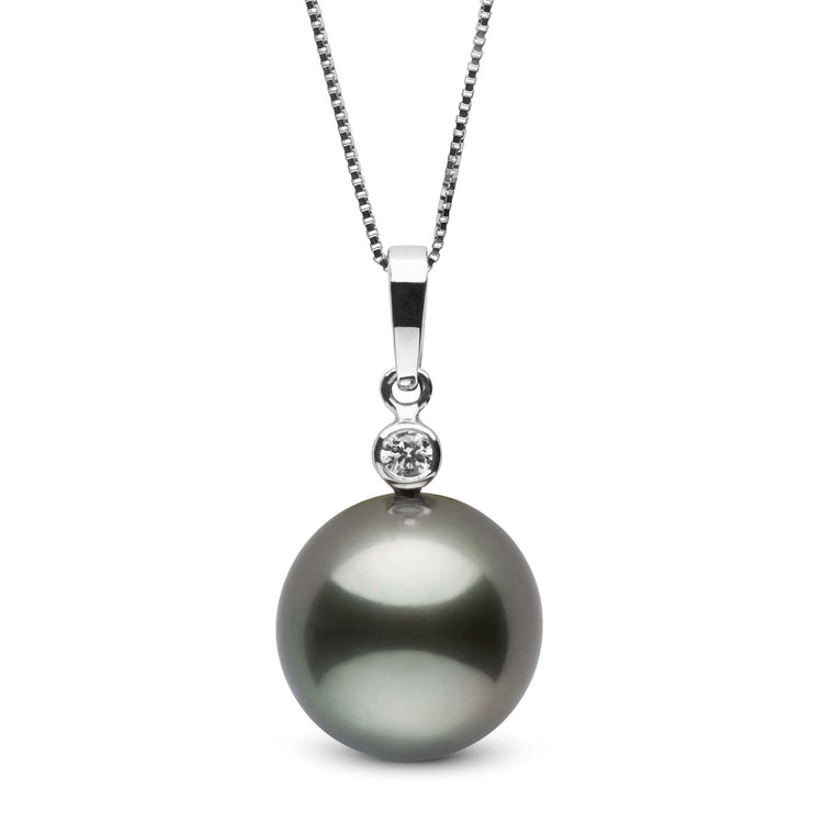 Brilliant Collection 11.0-12.0 mm Tahitian Pearl and Diamond Pendant