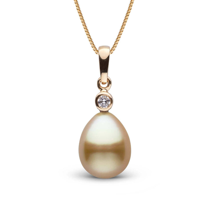 Brilliant Collection Drop Golden 9.0-10.0 mm South Sea Pearl and Diamond Pendant