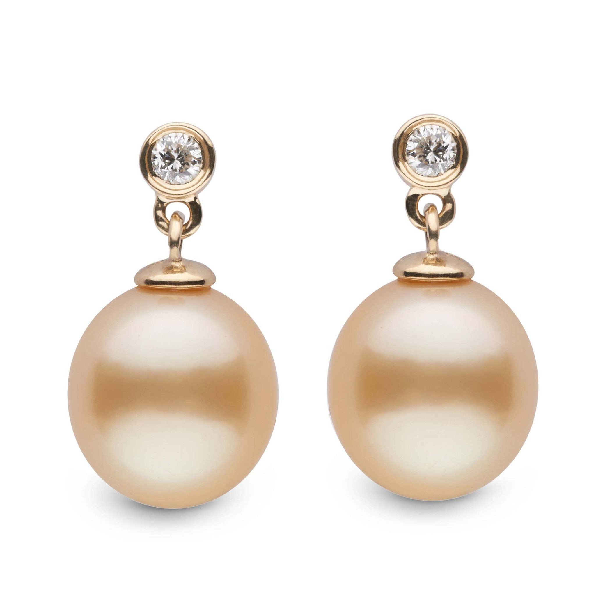 Brilliant Collection Drop Golden South Sea 9.0-10.0 mm Pearl & Diamond Dangle Earrings