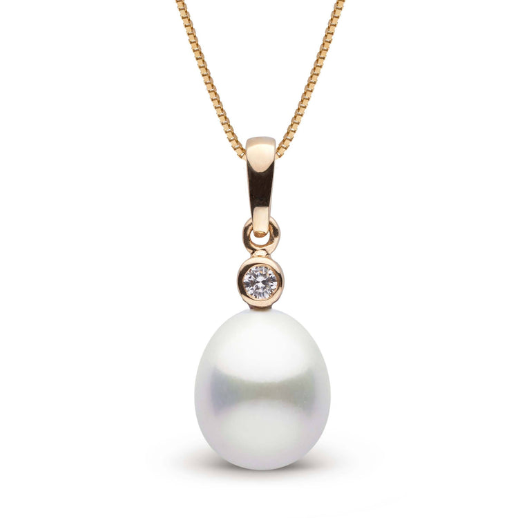 Brilliant Collection Drop White 9.0-10.0 mm South Sea Pearl and Diamond Pendant