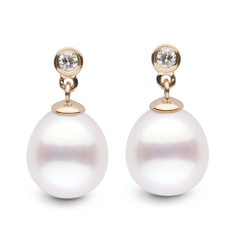 Brilliant Collection Drop White South Sea 9.0-10.0 mm Pearl & Diamond Dangle Earrings