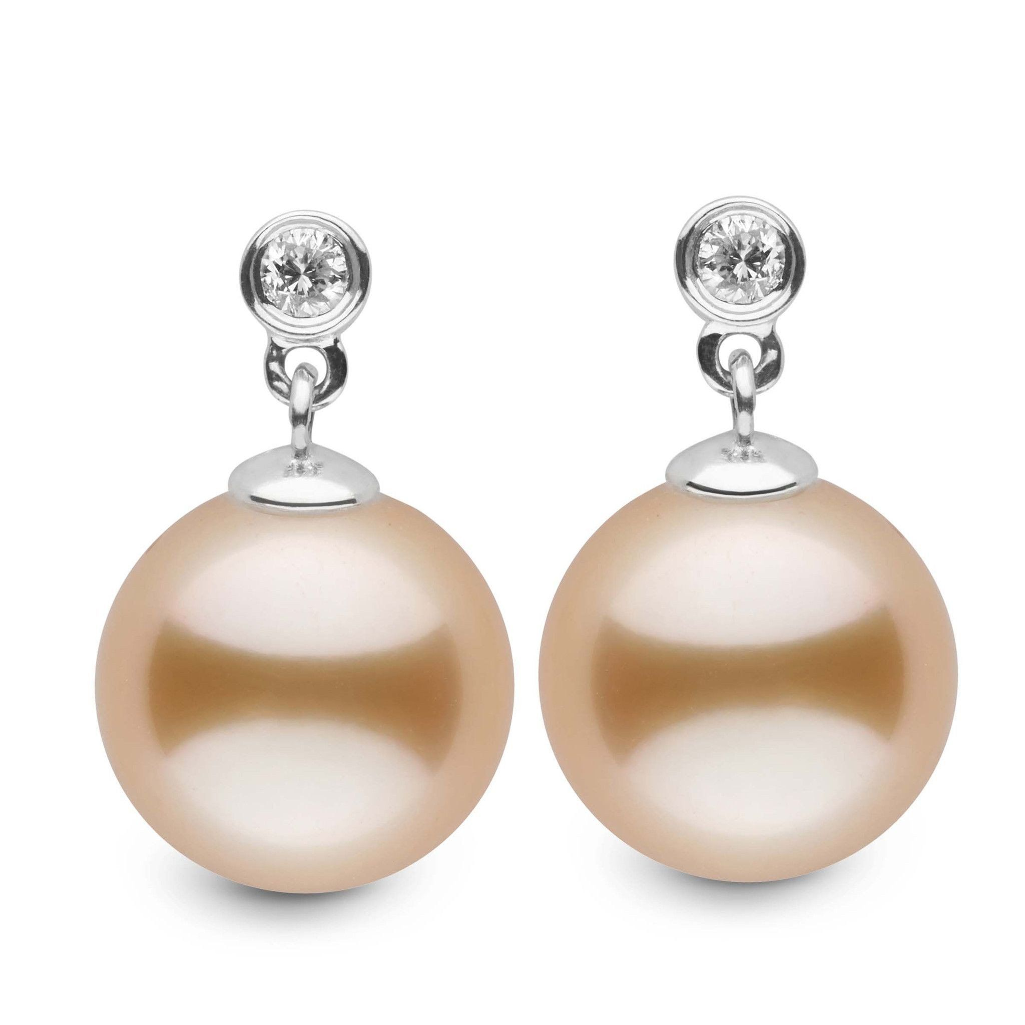 Brilliant Collection Golden South Sea 10.0-11.0 mm Pearl & Diamond Dangle Earrings