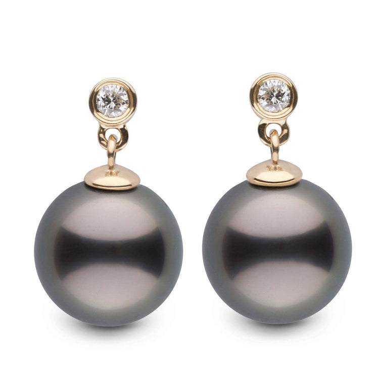 Brilliant Collection Tahitian 10.0-11.0 mm Pearl and Diamond Dangle Earrings