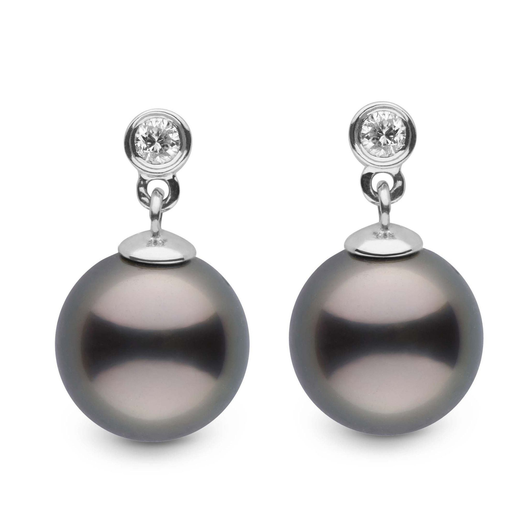 Brilliant Collection Tahitian 9.0-10.0 mm Pearl and Diamond Dangle Earrings