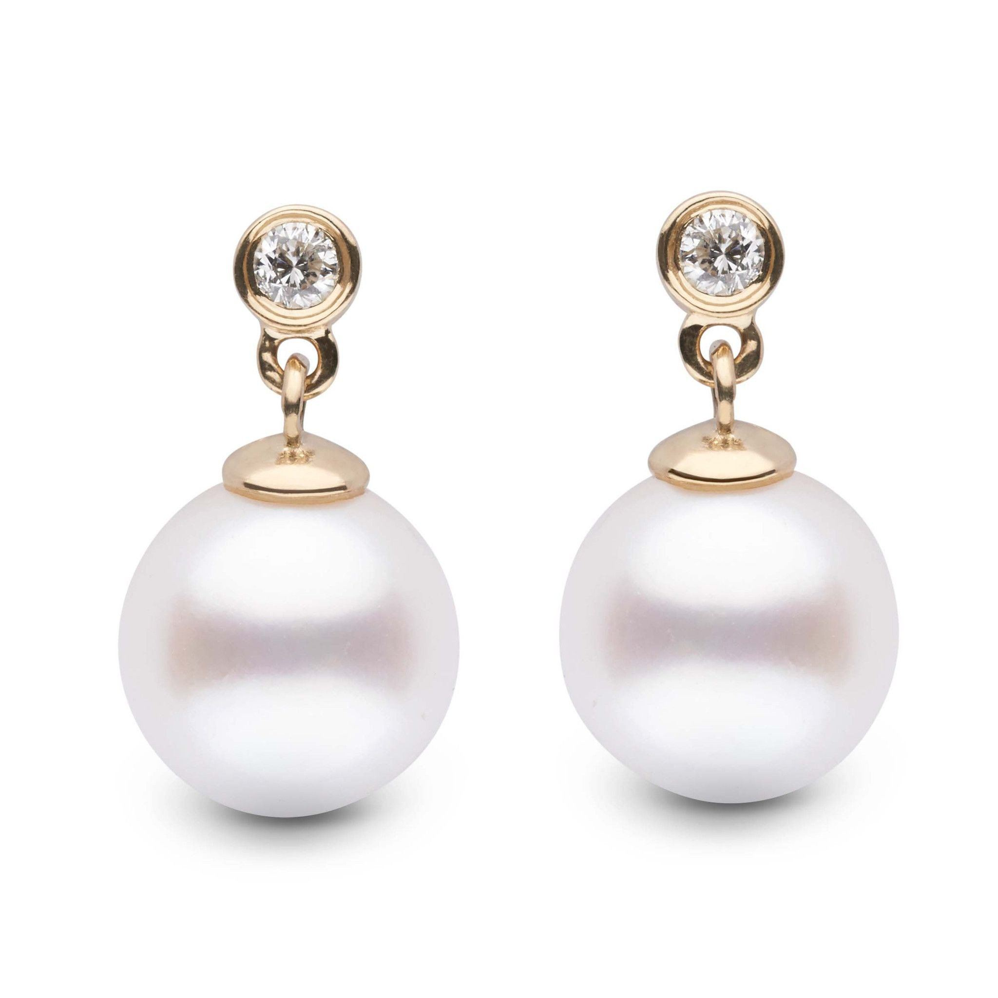 Brilliant Collection White Freshadama 8.5-9.0 mm Pearl & Diamond Earrings