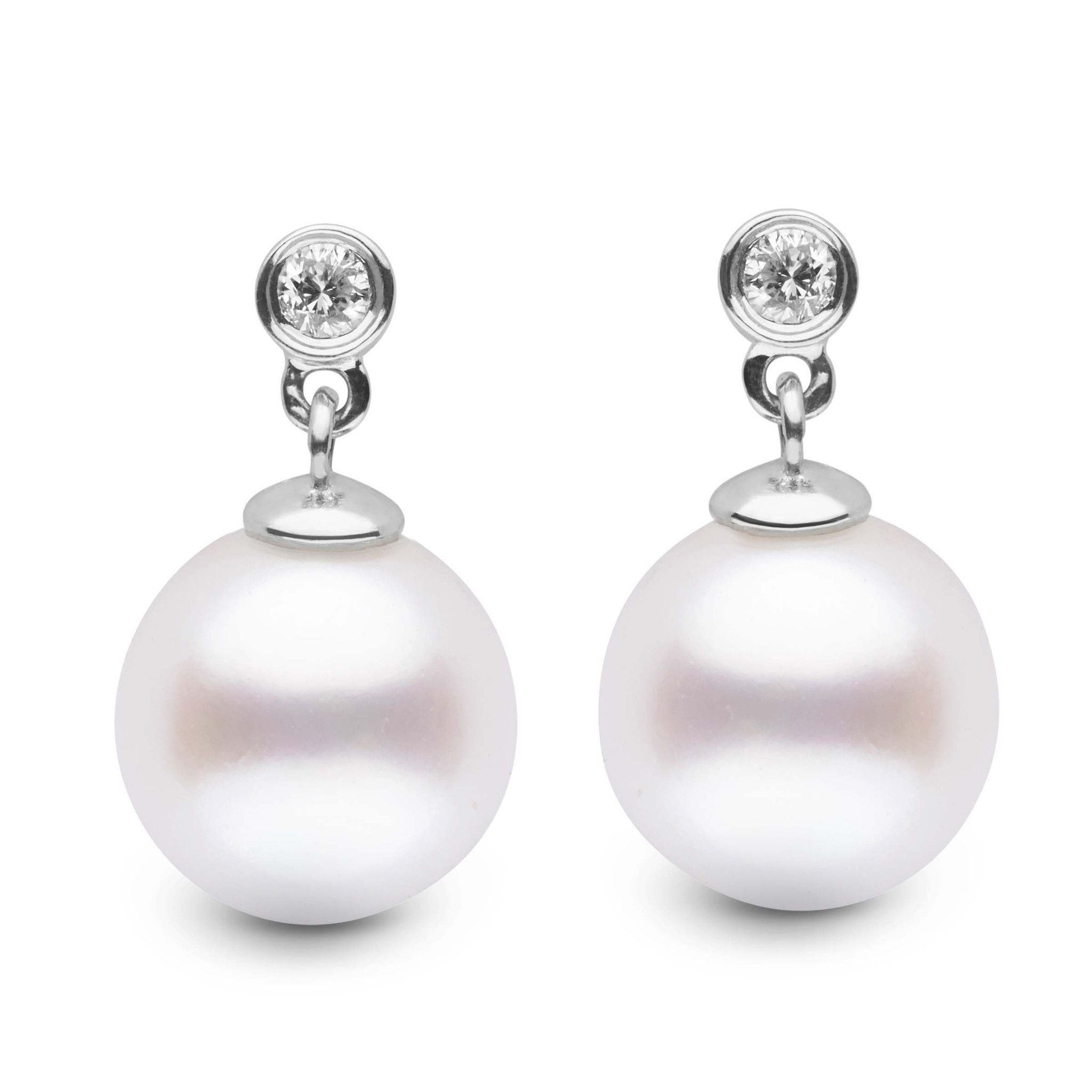 Brilliant Collection White Freshadama 9.0-10.0 mm Pearl & Diamond Earrings