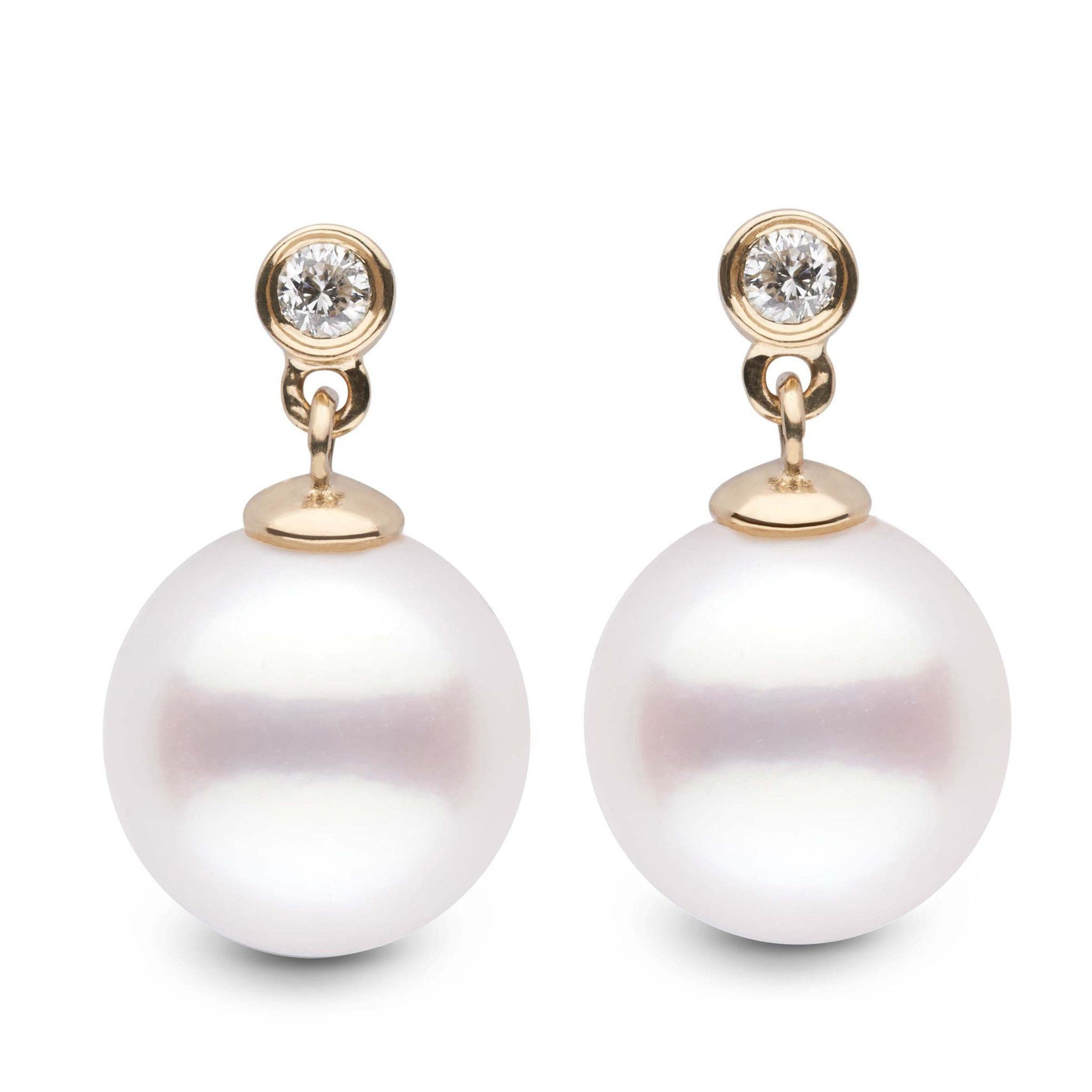 Brilliant Collection White South Sea 10.0-11.0 mm Pearl and Diamond Dangle Earrings