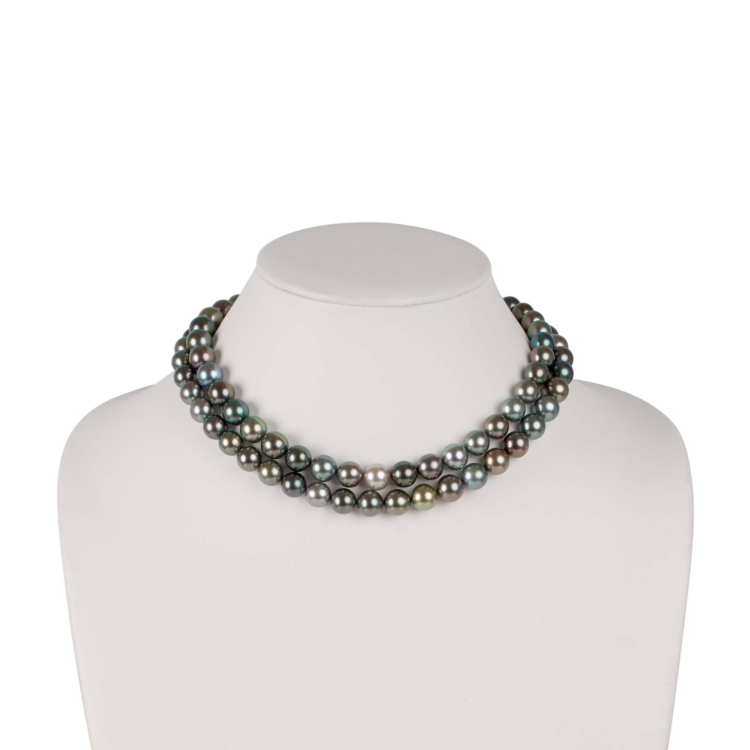 Special 35-inch 9.1-10.9 mm AAA Gem Round Multicolor Tahitian Pearl Necklace