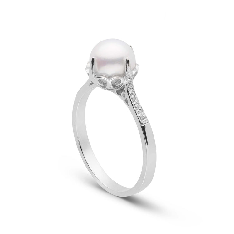 Capture Collection Akoya Pearl and Diamond Ring 18K