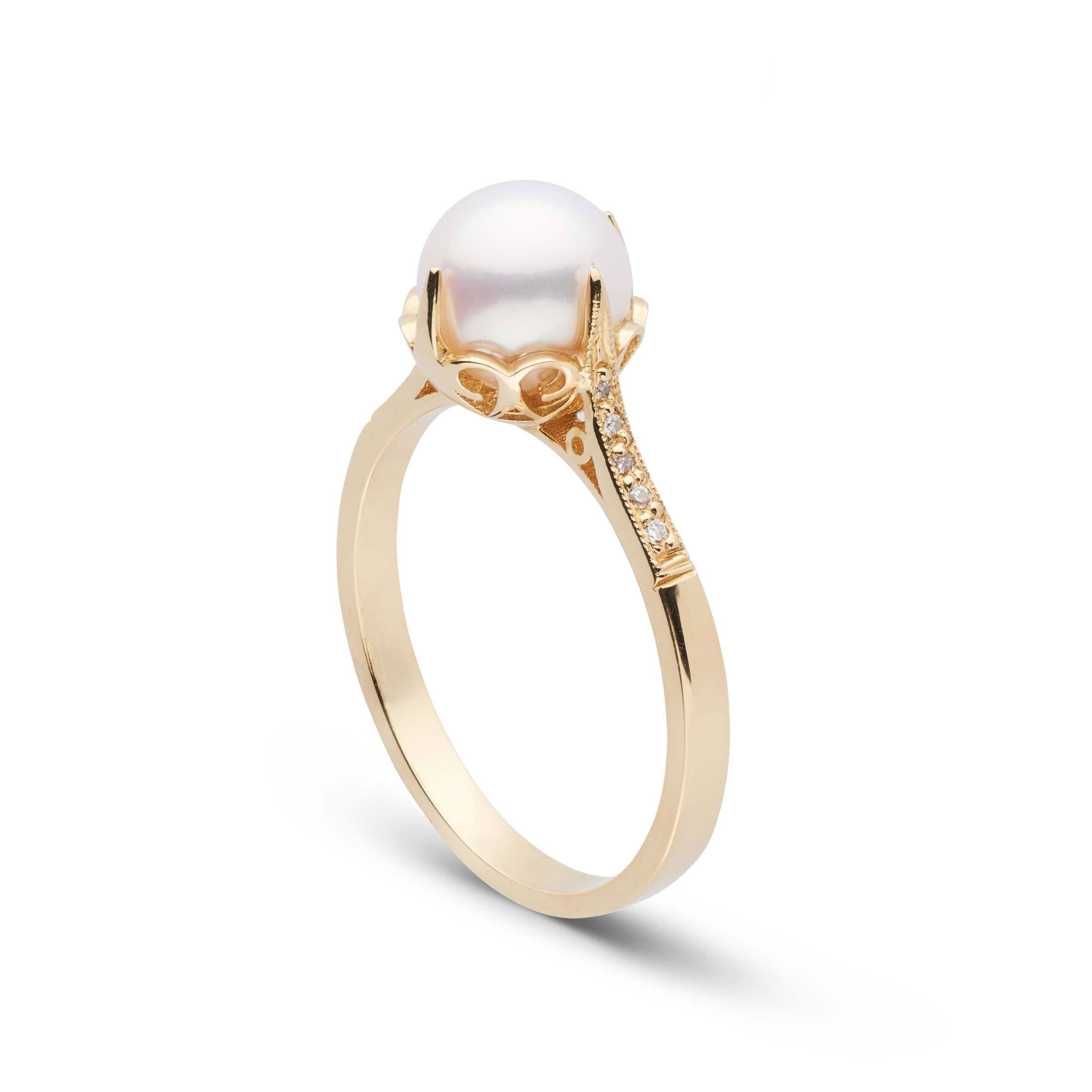 Capture Collection Akoya Pearl and Diamond Ring