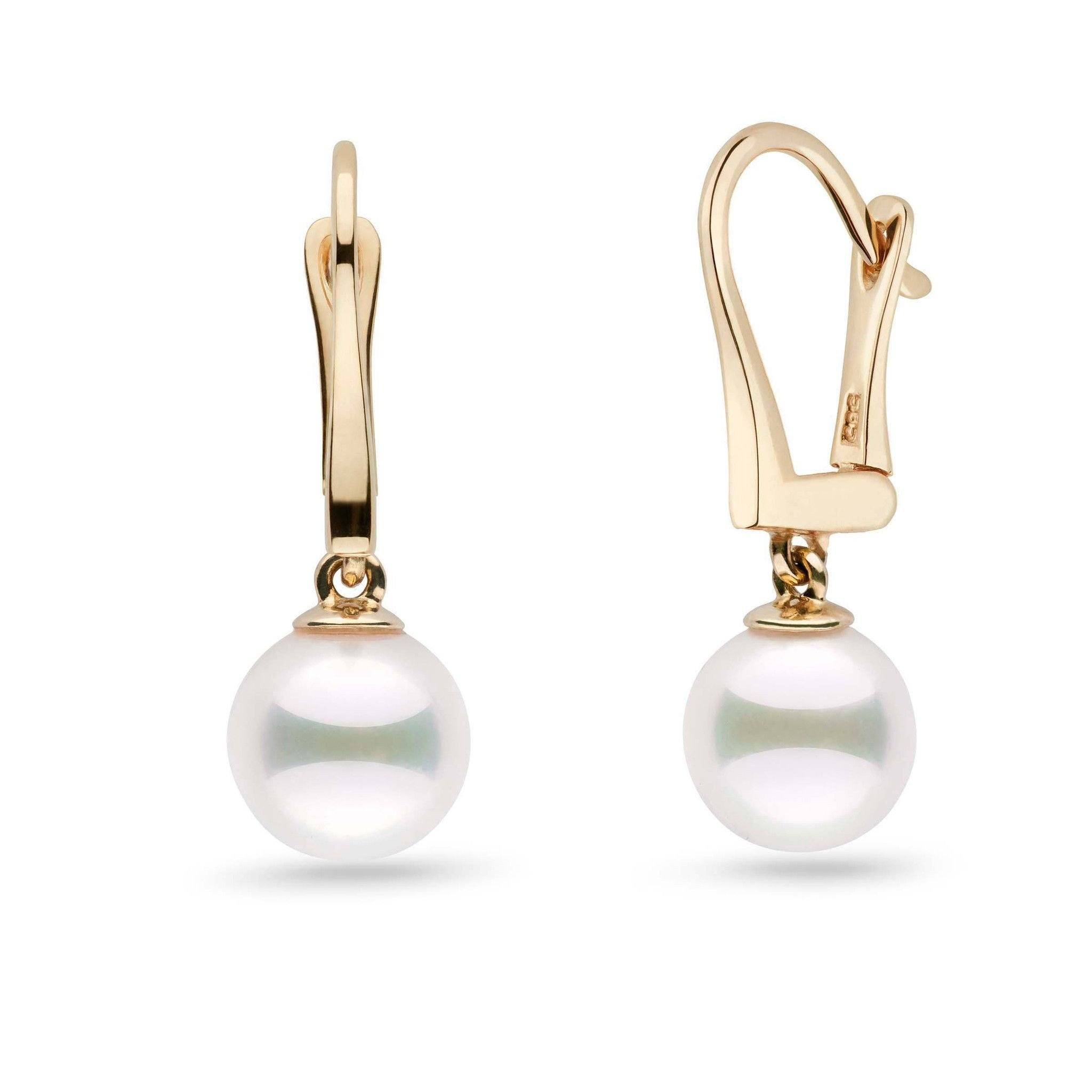 Classic Collection White Akoya 8.0-8.5 mm Pearl Dangle Earrings