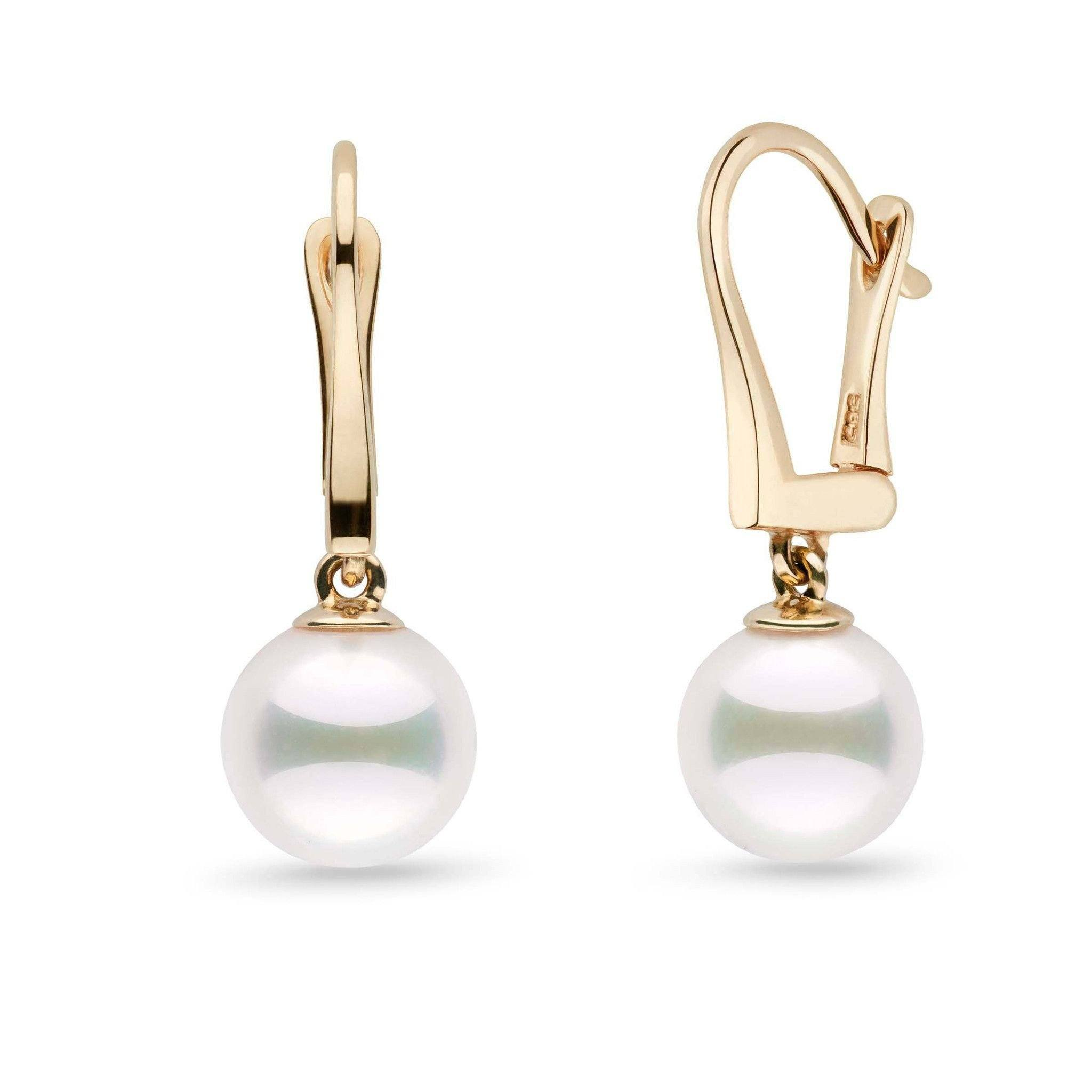 Classic Collection White Akoya 8.5-9.0 mm Pearl Dangle Earrings